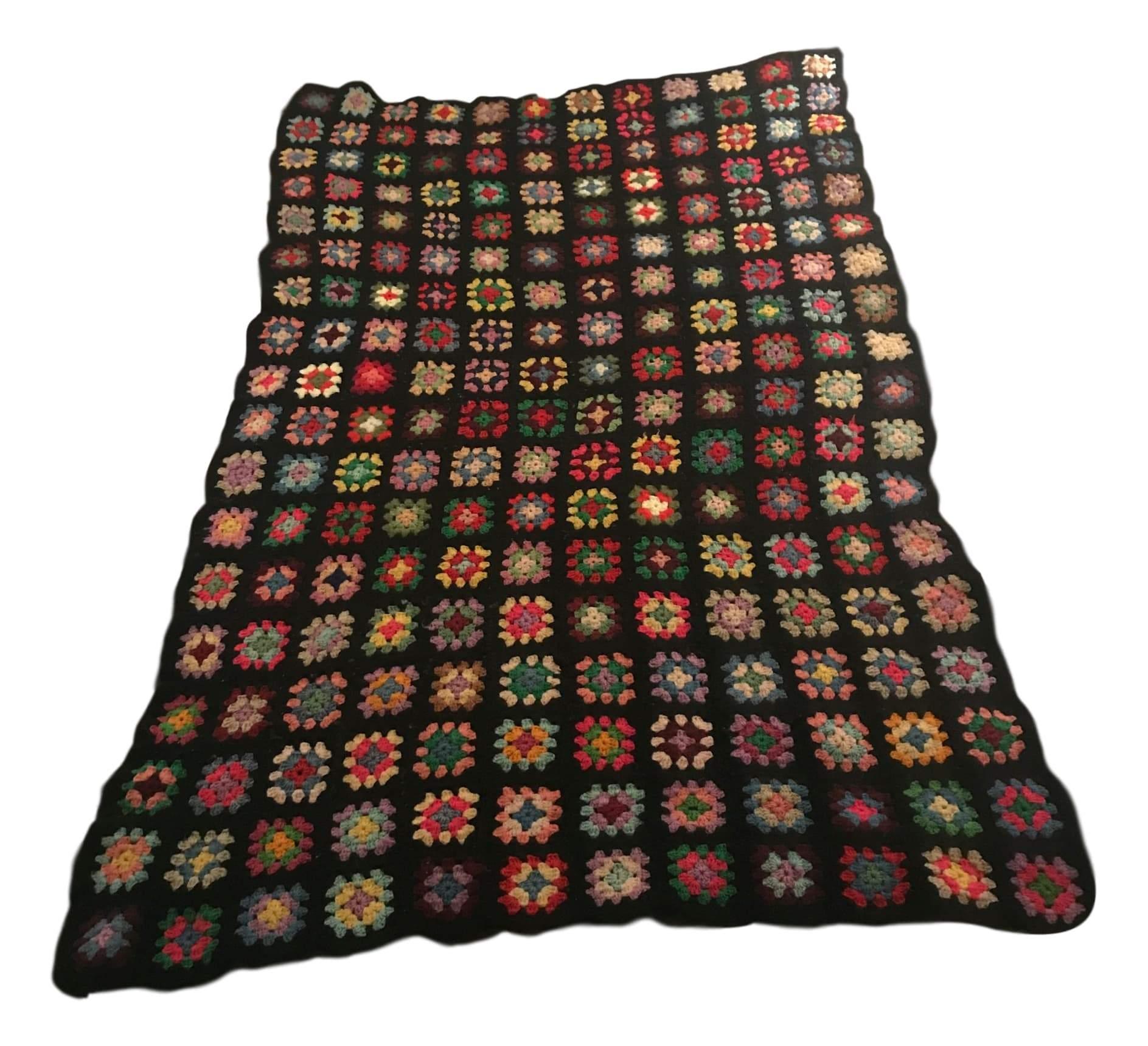 Multicolor Granny Square Blanket   Vintage Blanket   Handmade ...