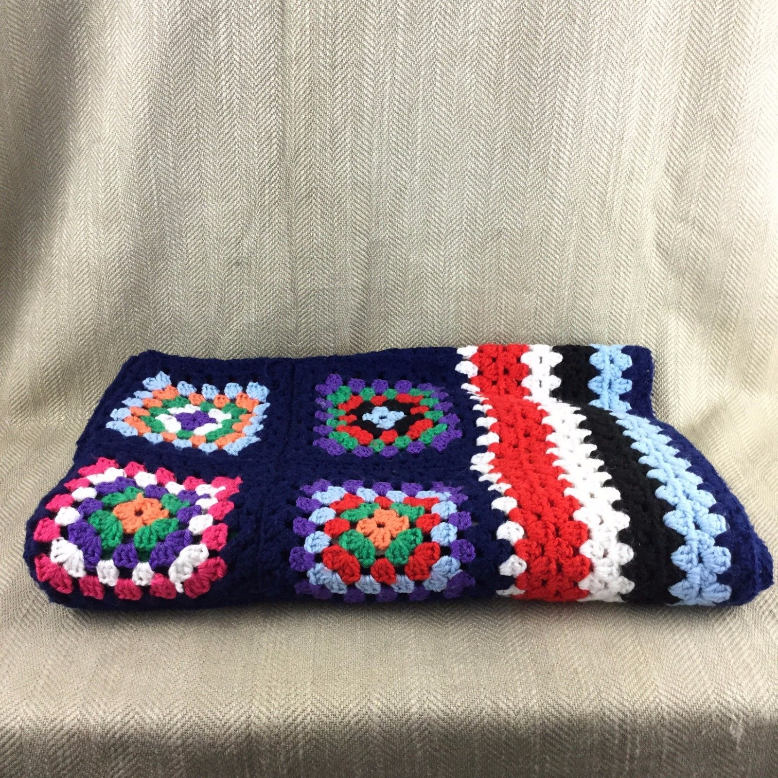 Vintage Blanket Granny Square Afghan Throw Handmade Crochet Blue Red ...