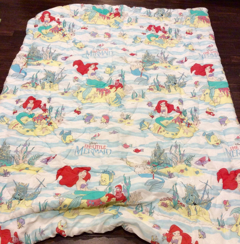 Vintage Disney's Little Mermaid Twin Size Bedding Blanket, Disney ...