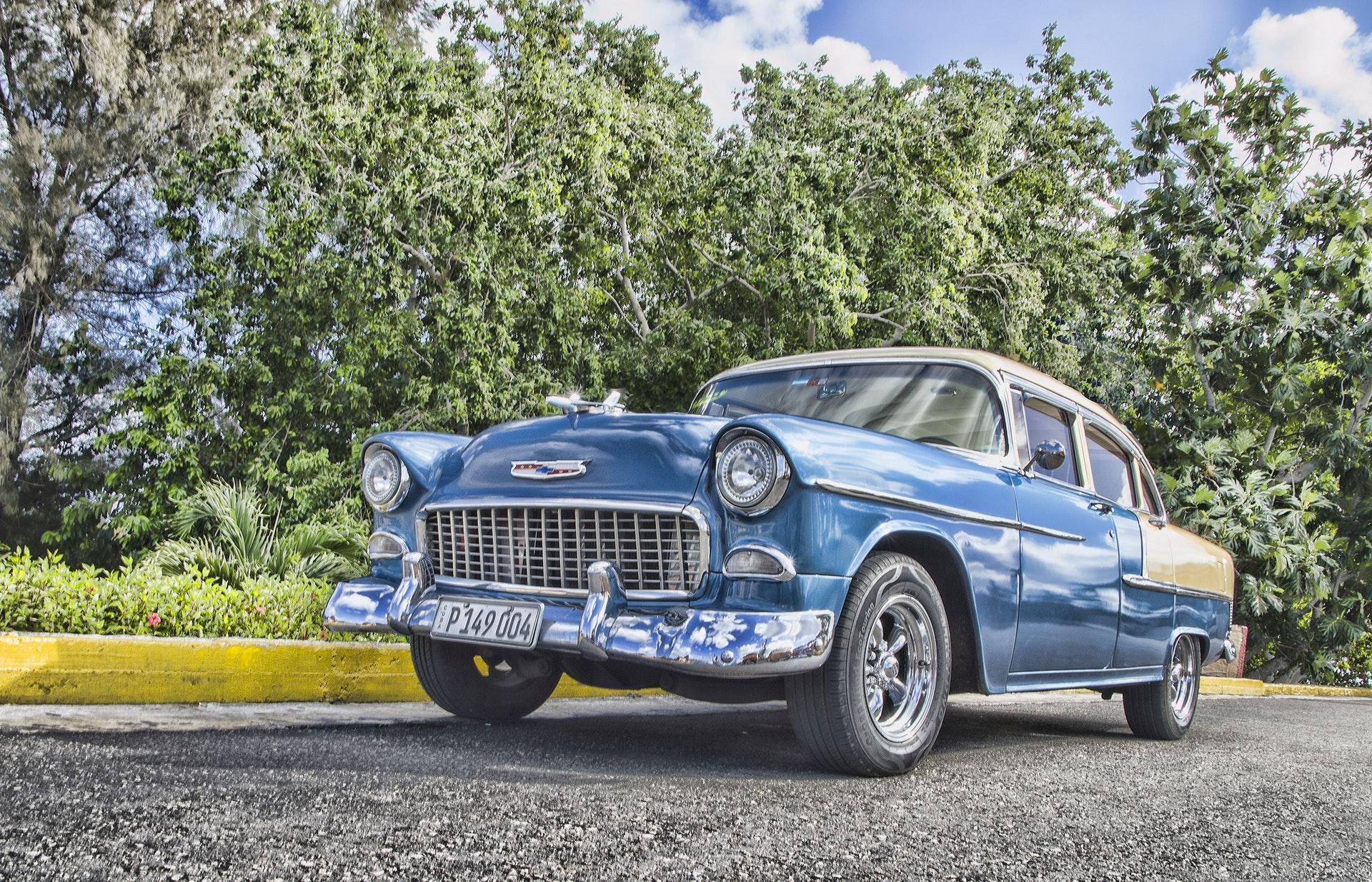 vintage blue sedan   Mechanic Outlet