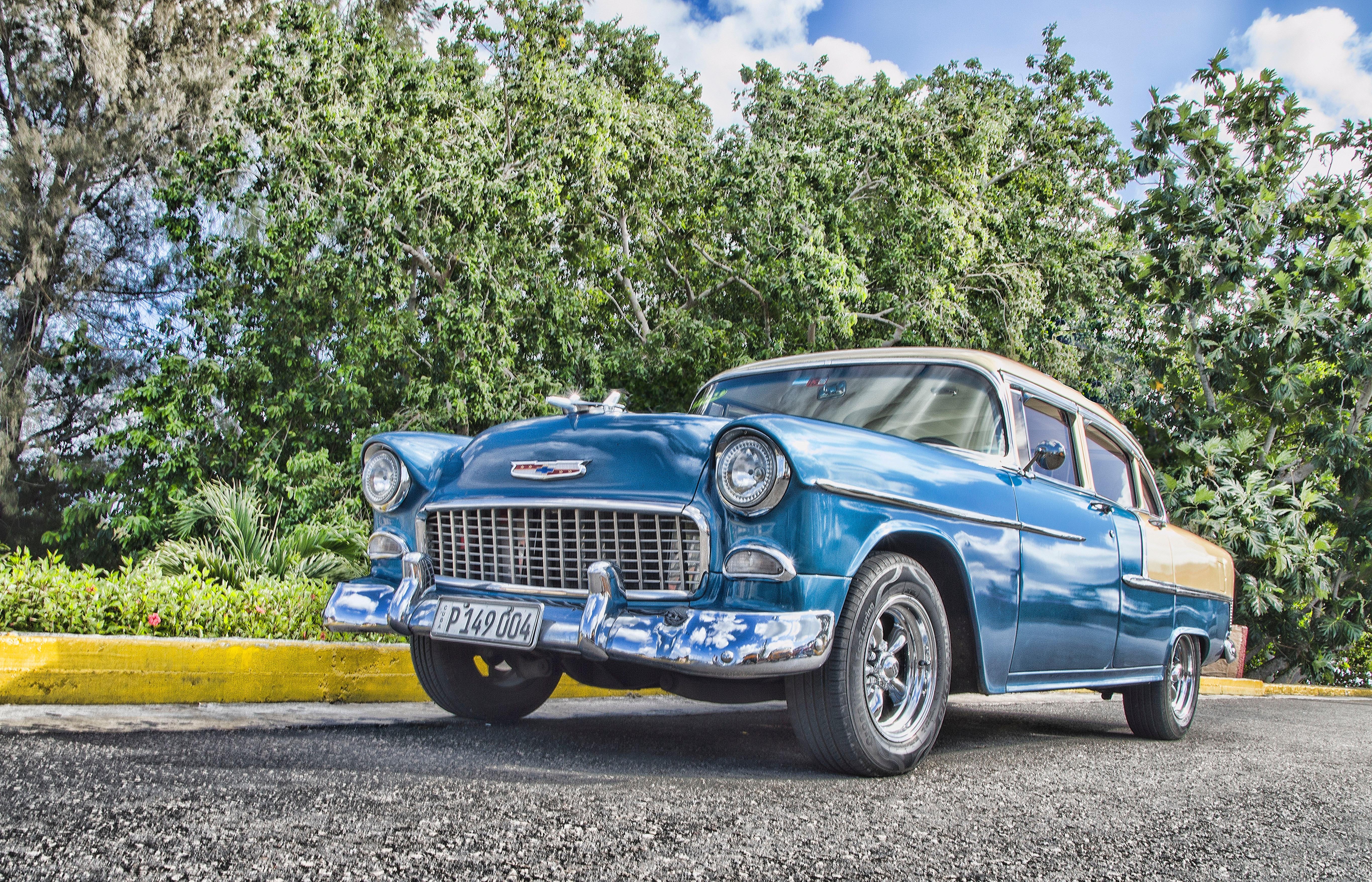Vintage Blue Sedan, Asphalt, Park, Vintage, Vehicle, HQ Photo