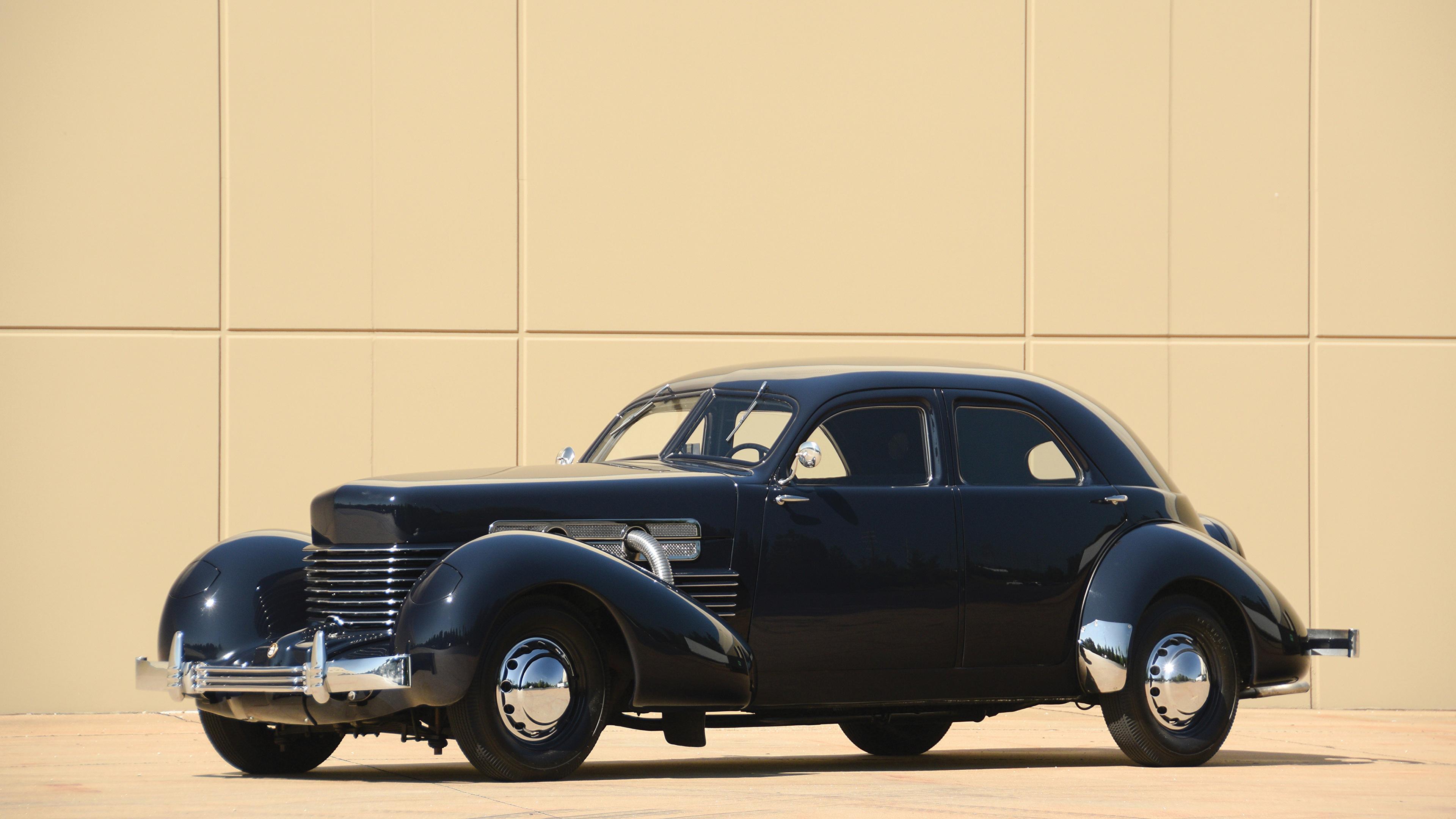 Picture 1937 Cord 812 Custom Beverly Sedan Bustlback Blue 3840x2160