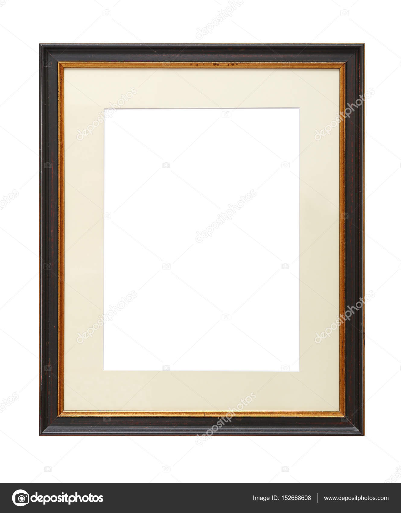 Vintage wooden picture frame with cardboard mat — Stock Photo ...