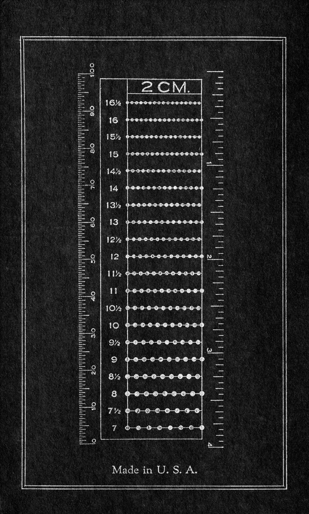 Vintage cardboard ruler - inverted black photo