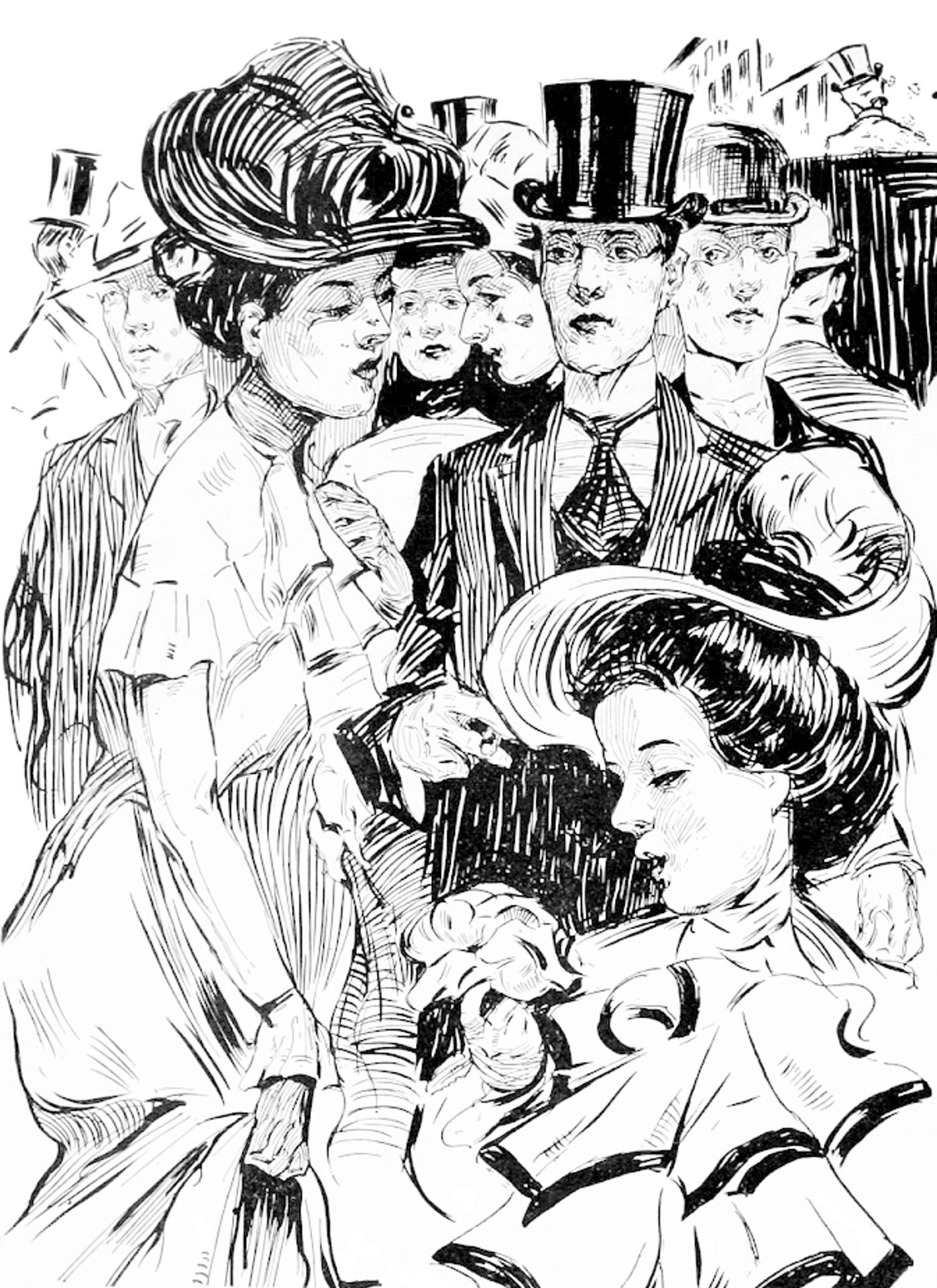 Vintage drawing of people photo