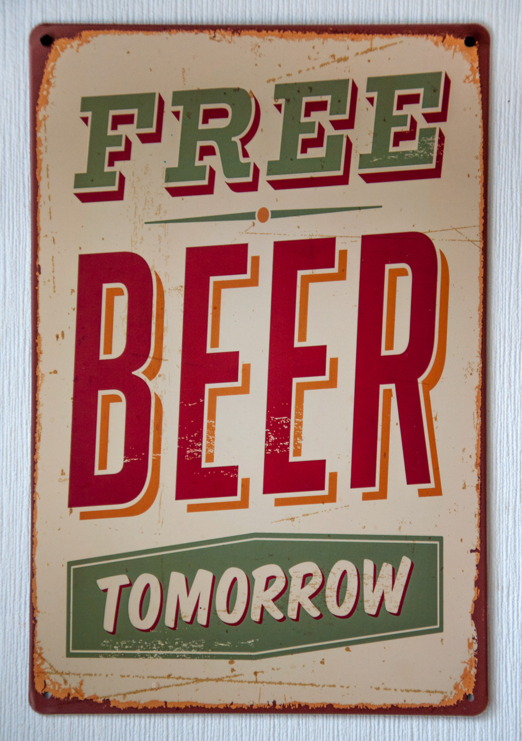 Vintage free beer tomorrow metal sign photo