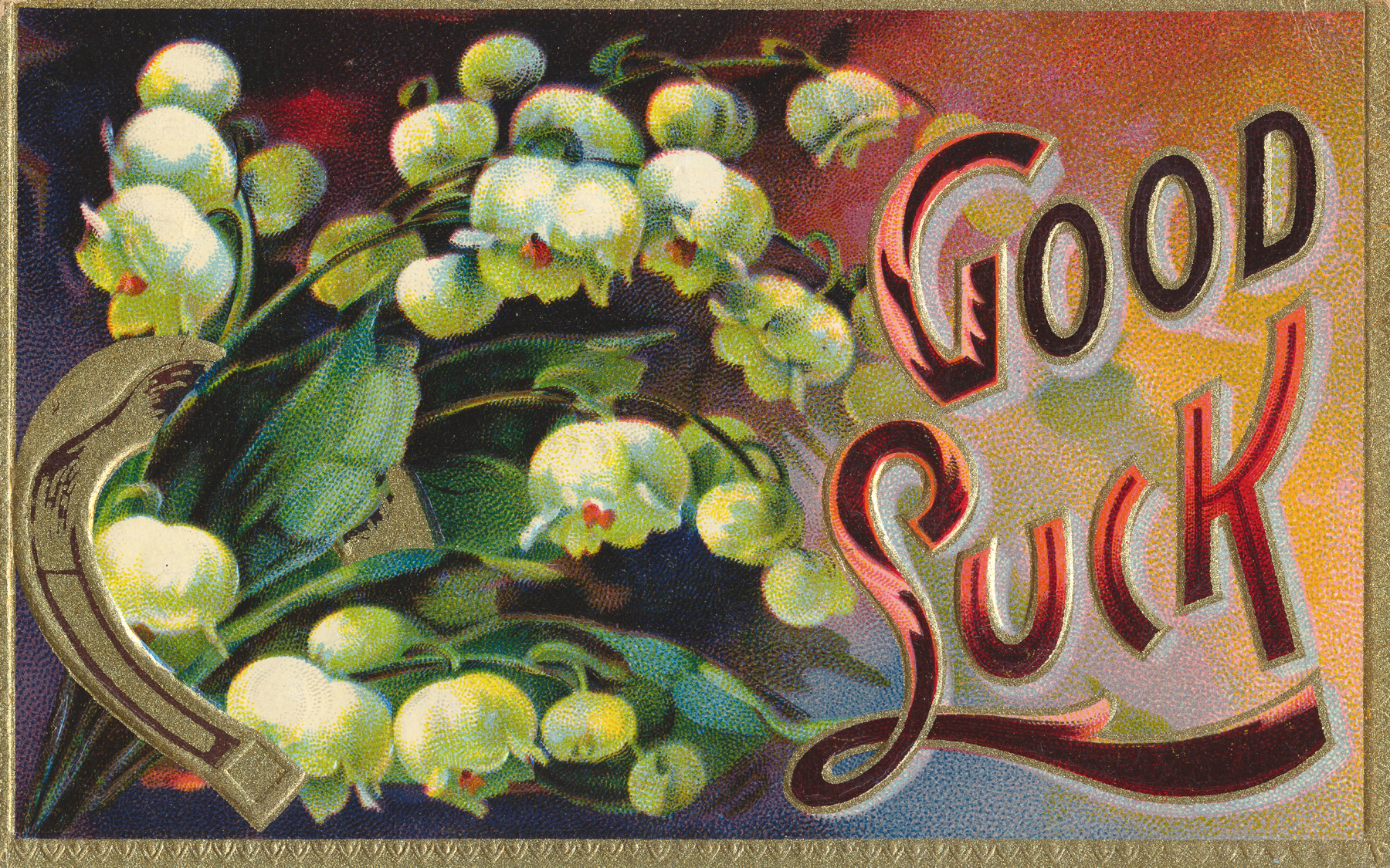Vintage Good Luck Card, 1910, Old, Paper, Page, HQ Photo