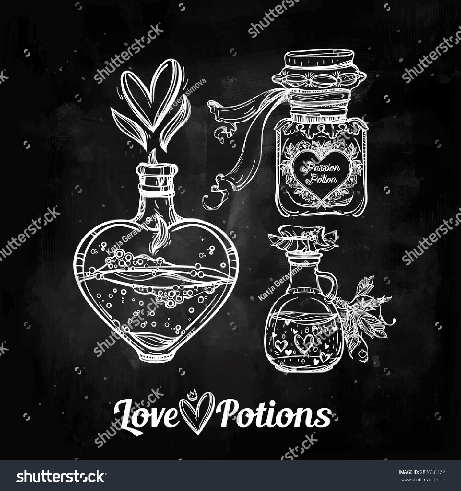 Love Potions Hand Drawn Magic Elegant Stock Vector 283630172 ...