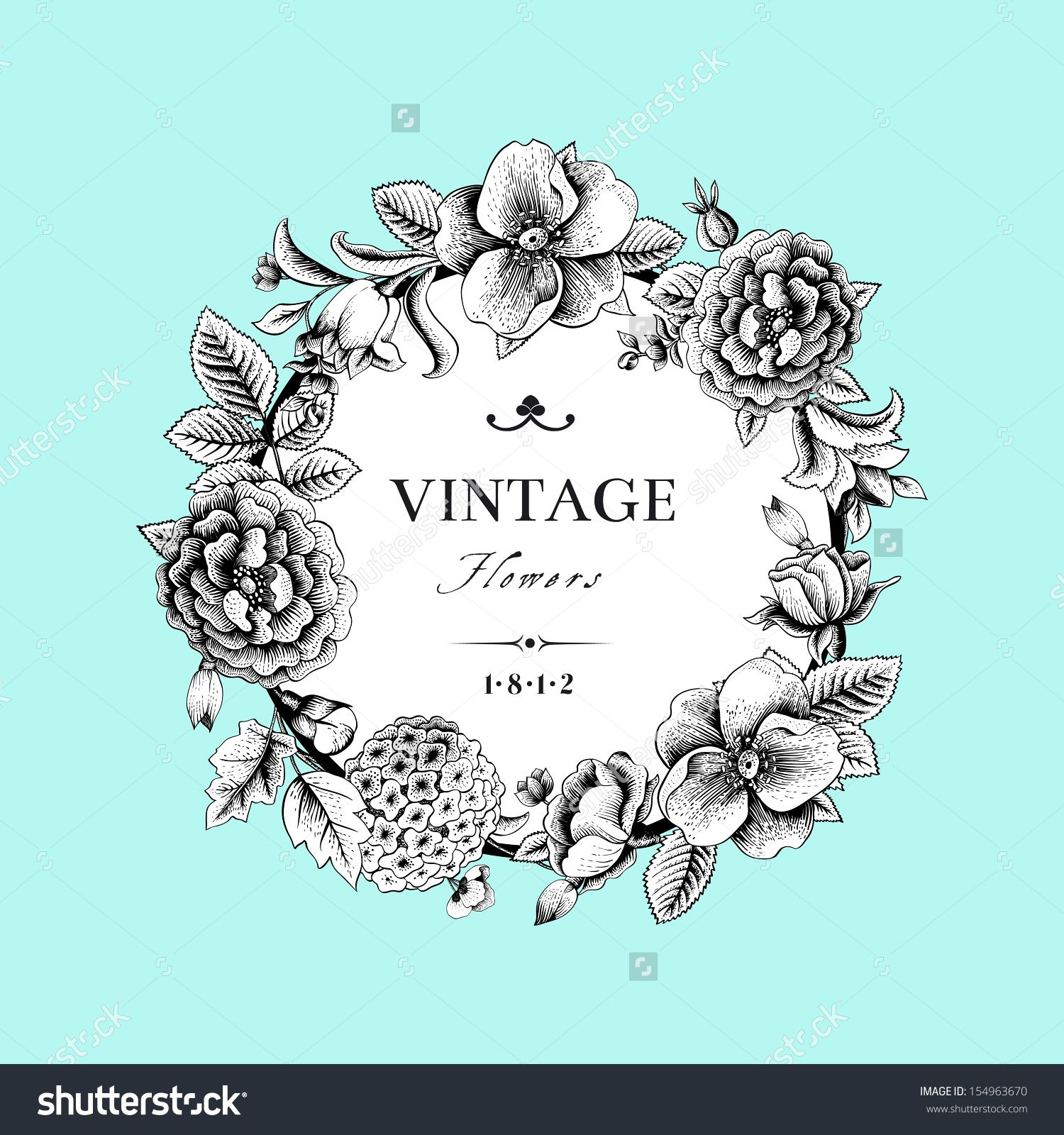 Beautiful card with a round wreath of different flowers of vintage ...