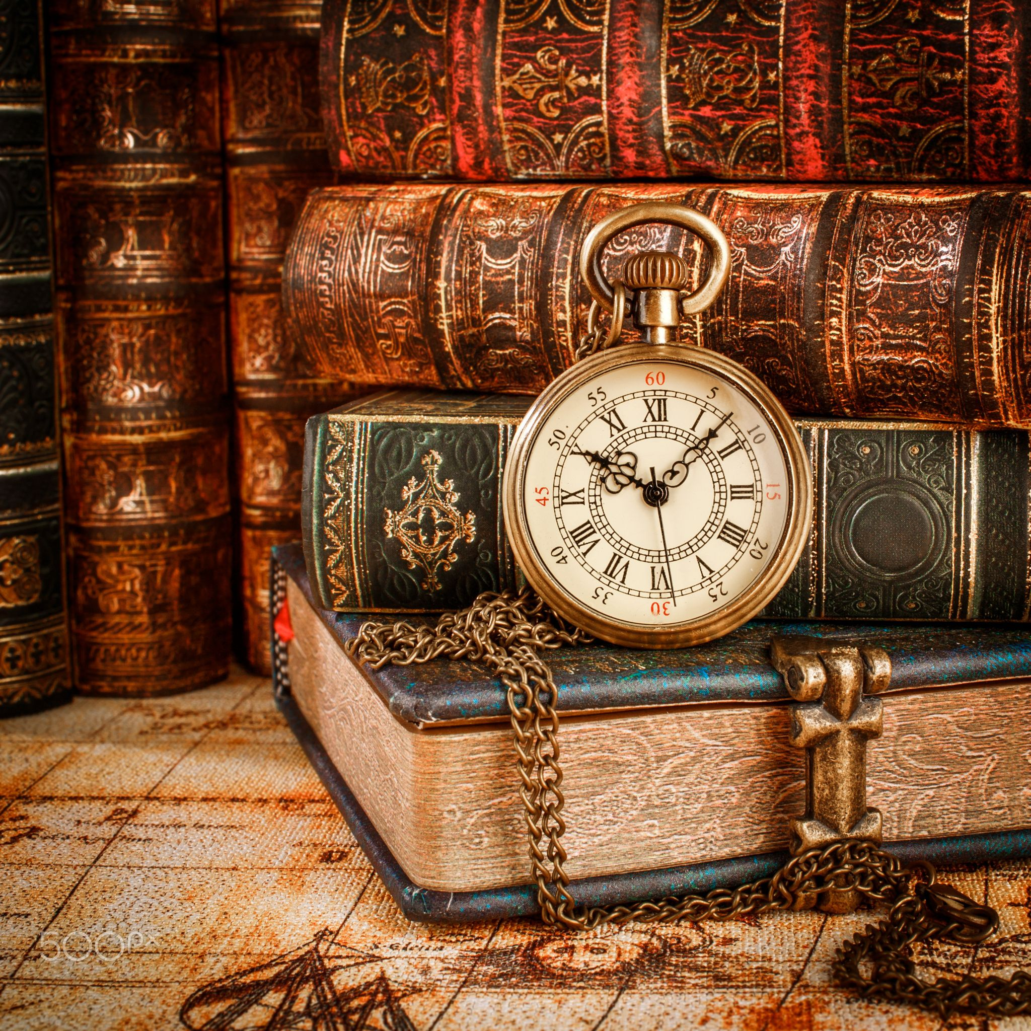Old Books and Vintage pocket watch - Vintage Antique pocket watch on ...