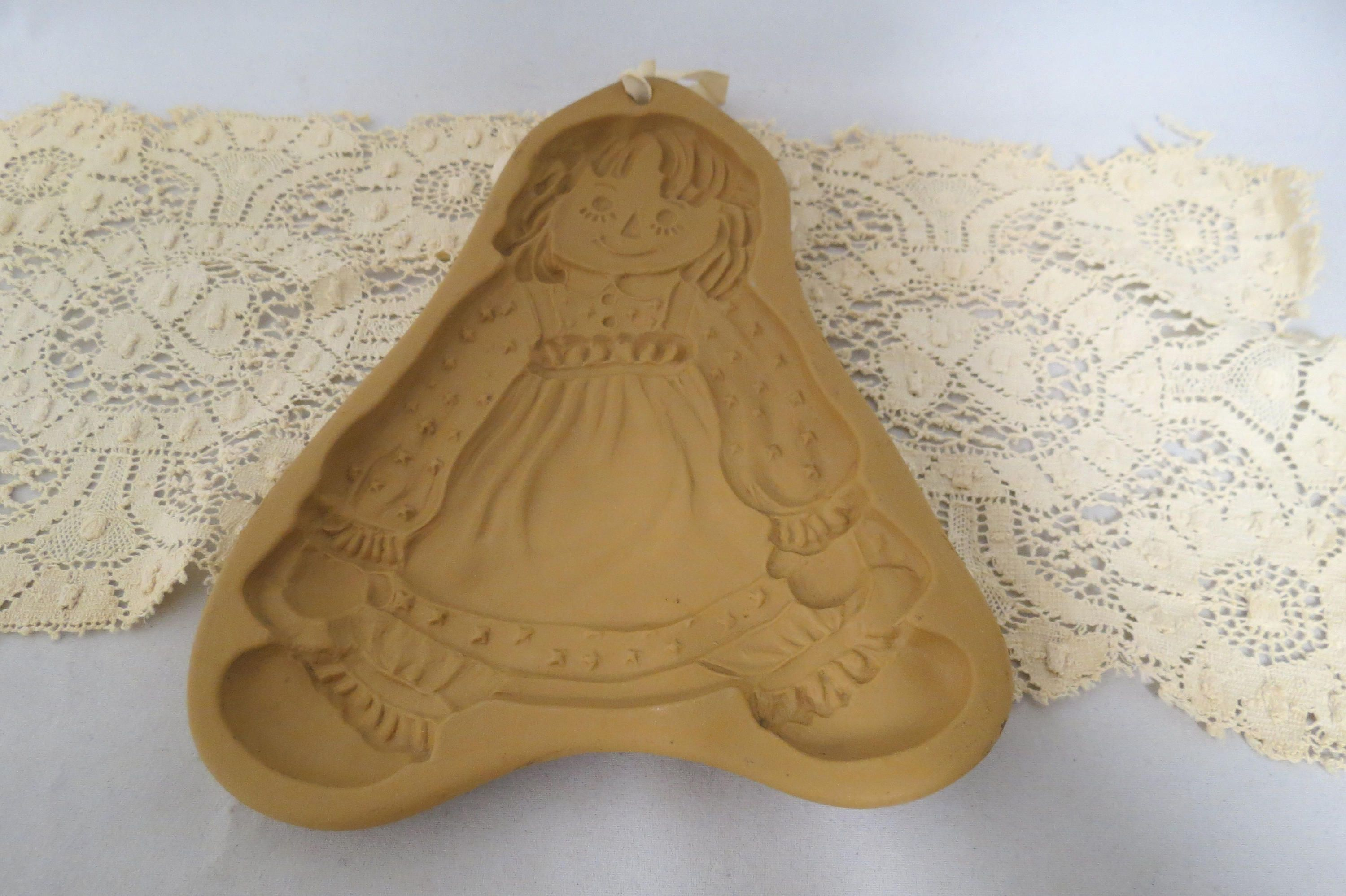 Vintage Brown Bag Cookie Art Mold Raggedy Ann Bees Wax Pressed Paper ...