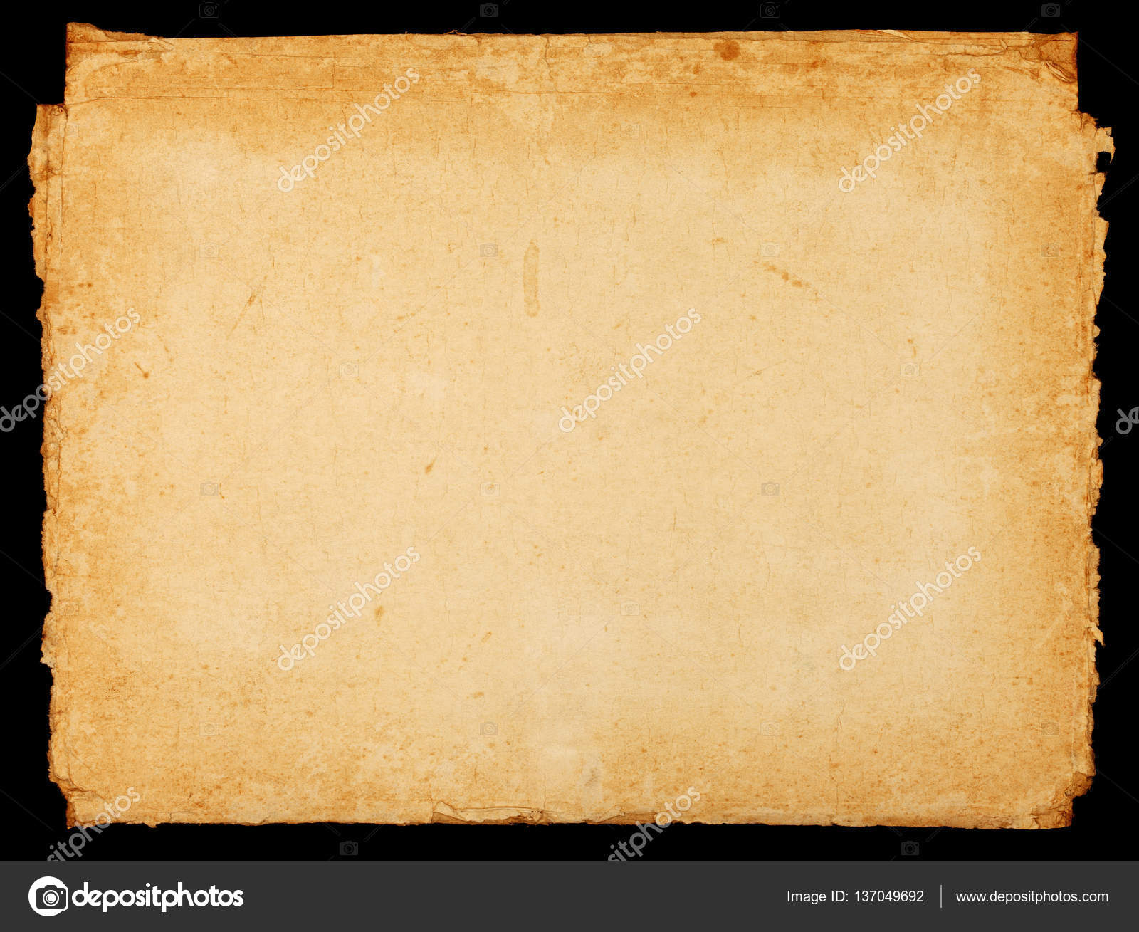 Old vintage paper sheet with dark rough borders — Stock Photo ...
