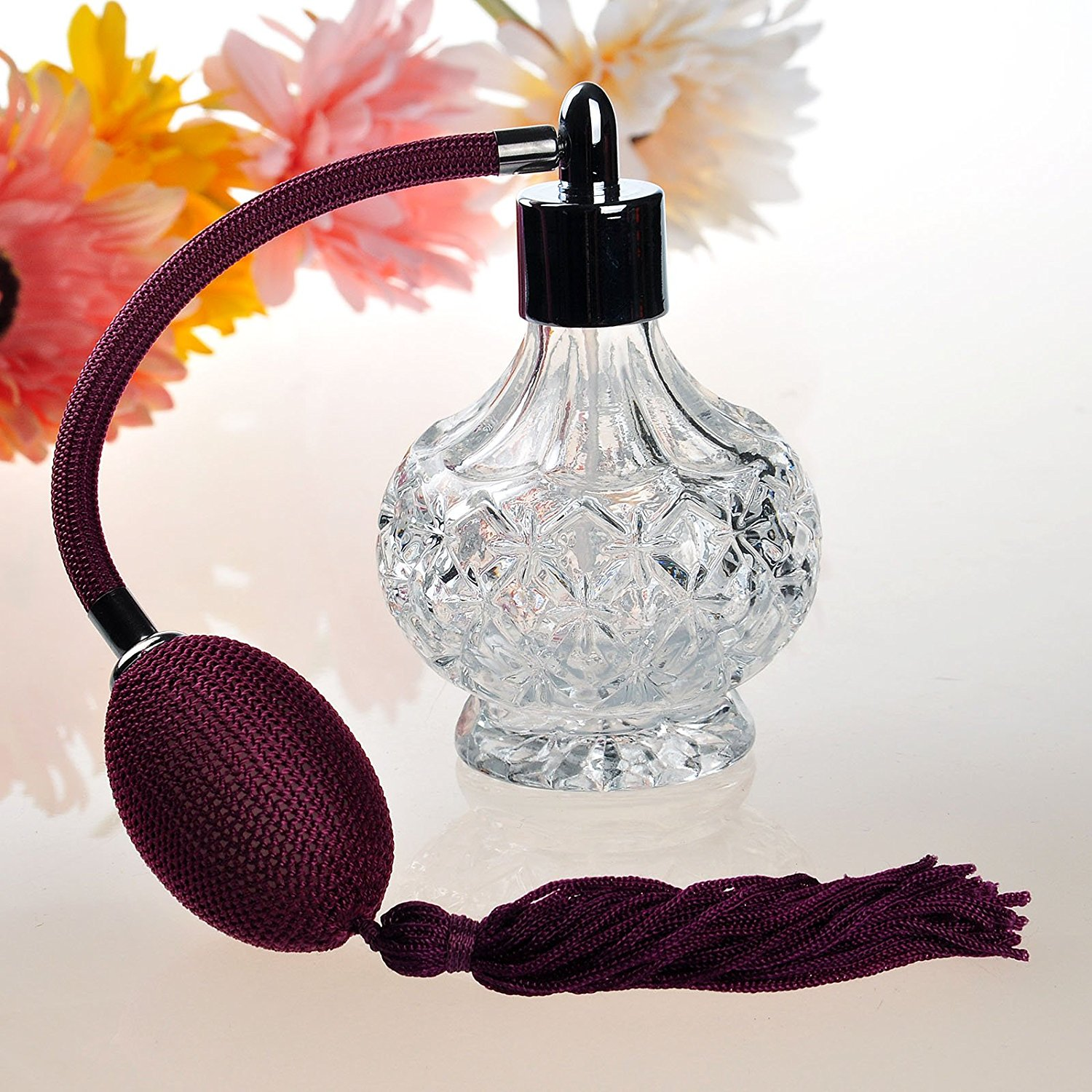 H&D Vintage Carved Glass Empty Refillable Perfume Bottle with Spray ...