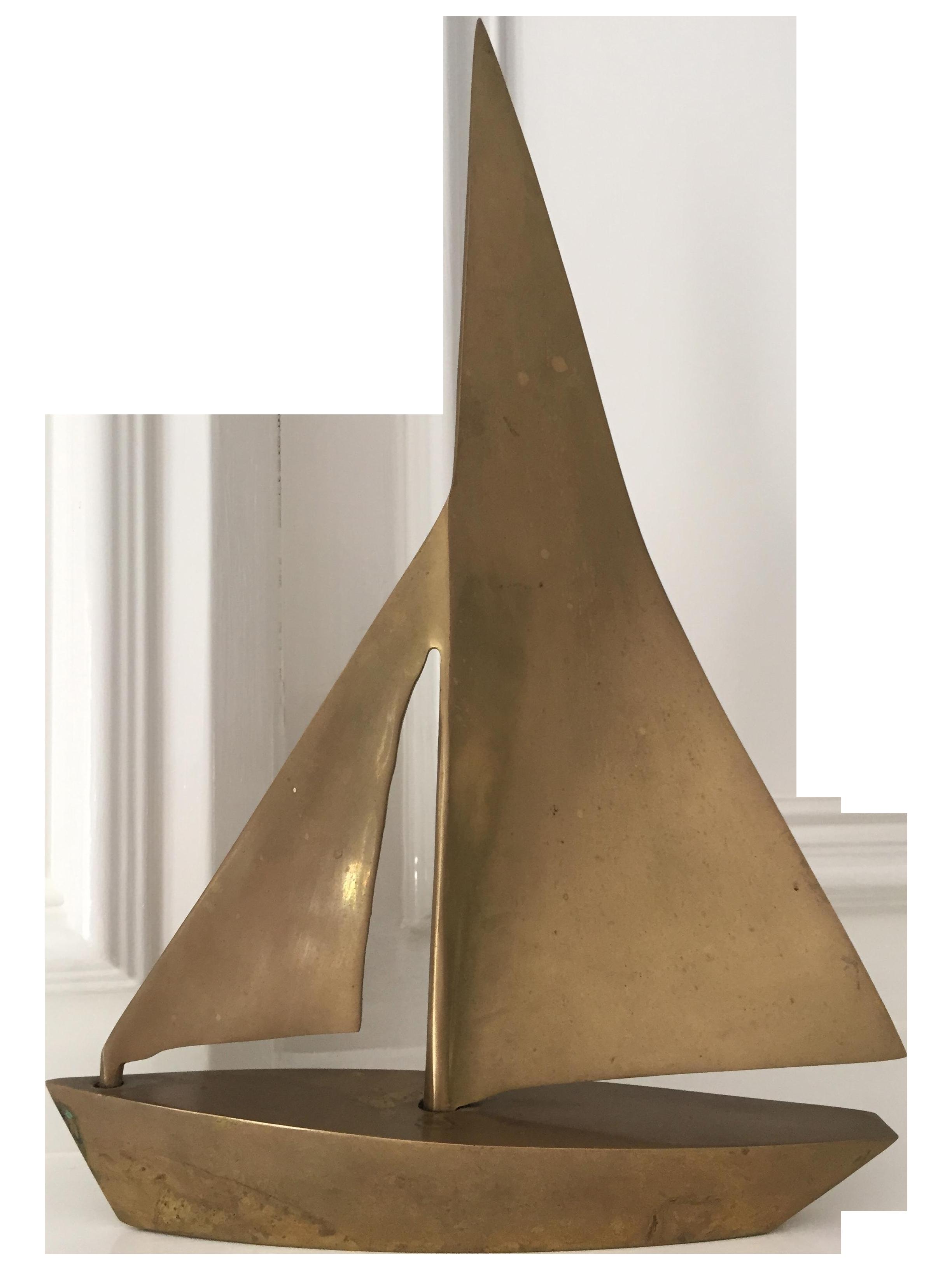 MCM Vintage Brass Sailboat | Chairish