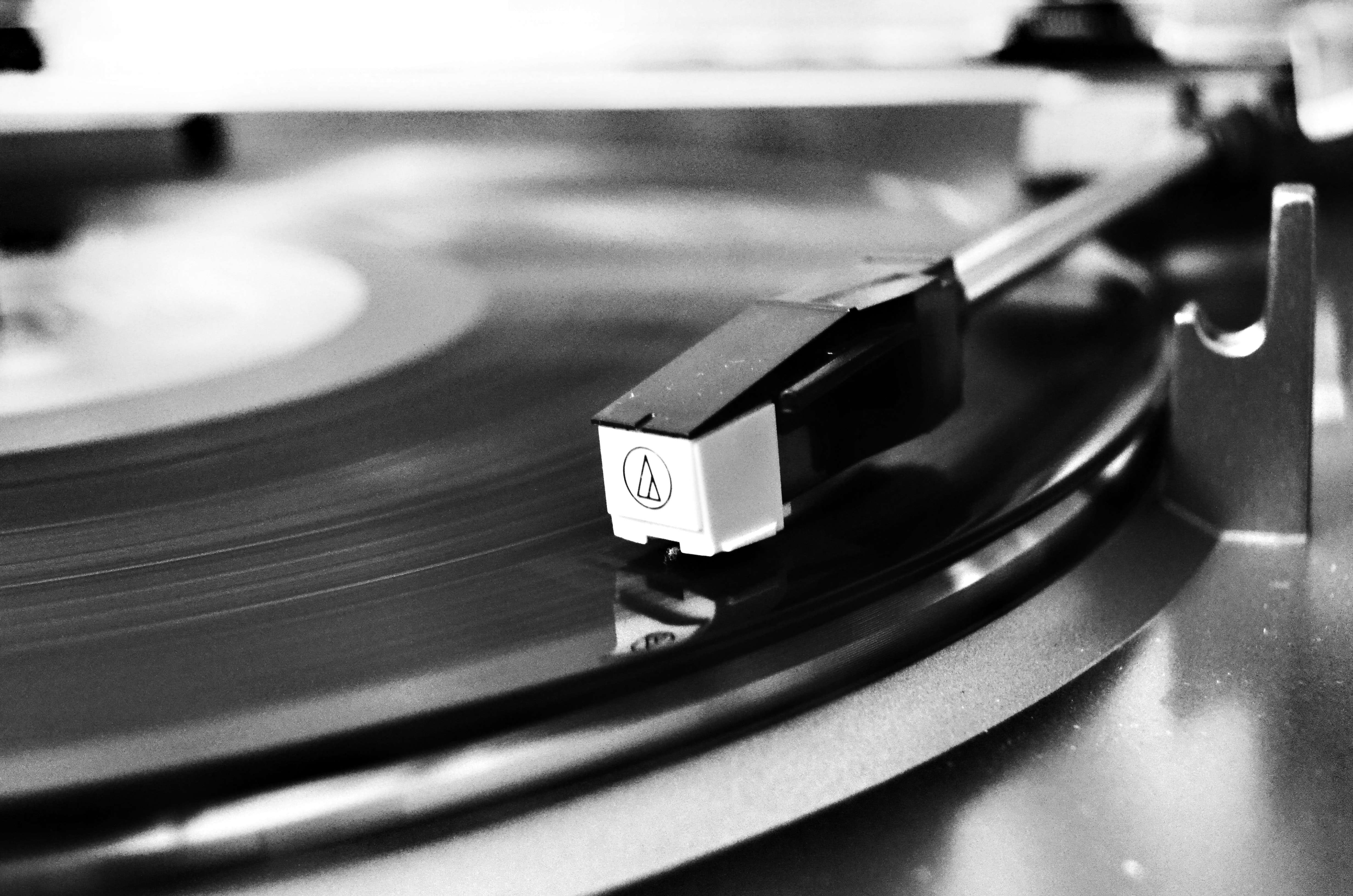 Vinyl record on vinyl player photo