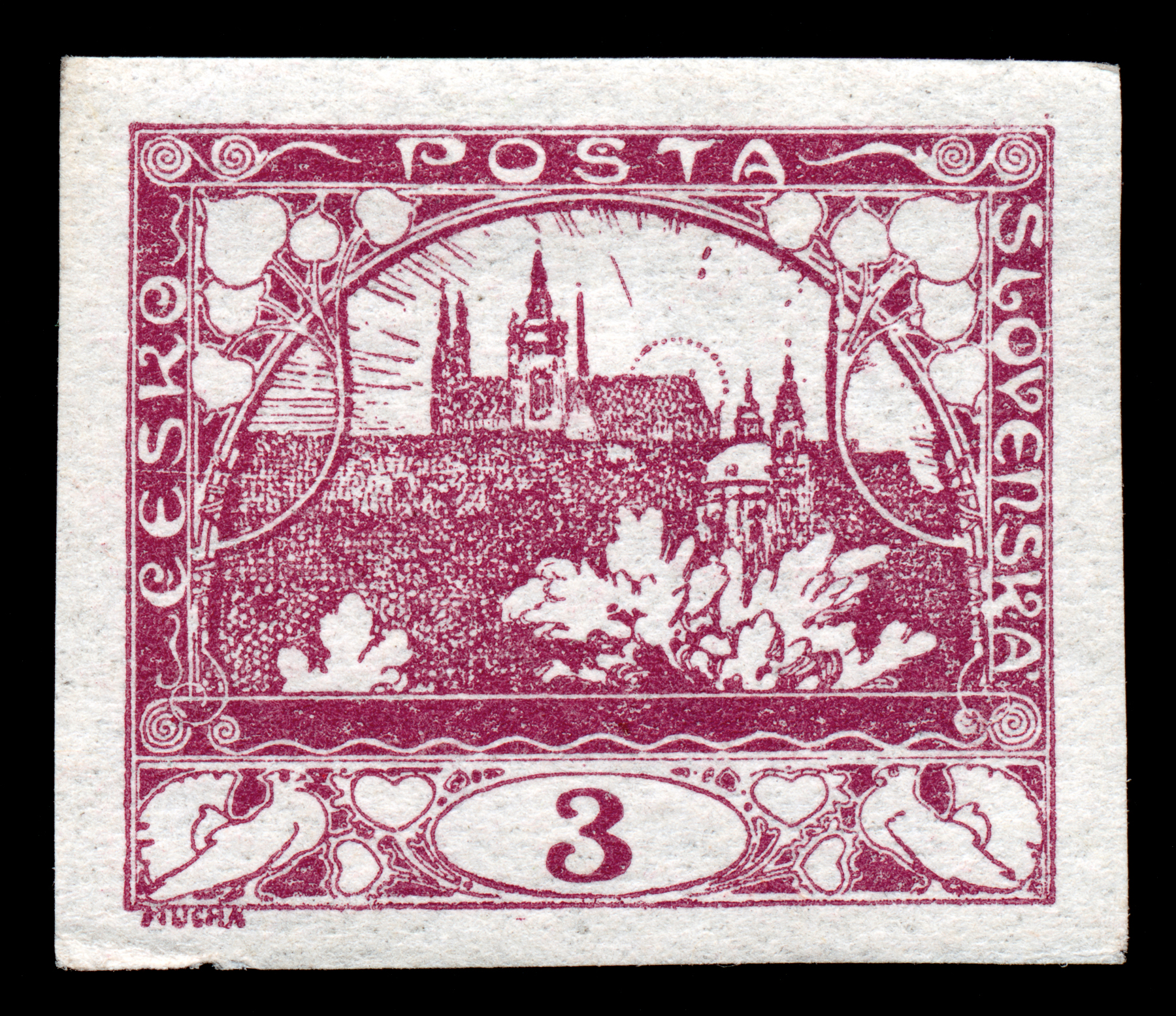 Violet hradcany castle stamp photo