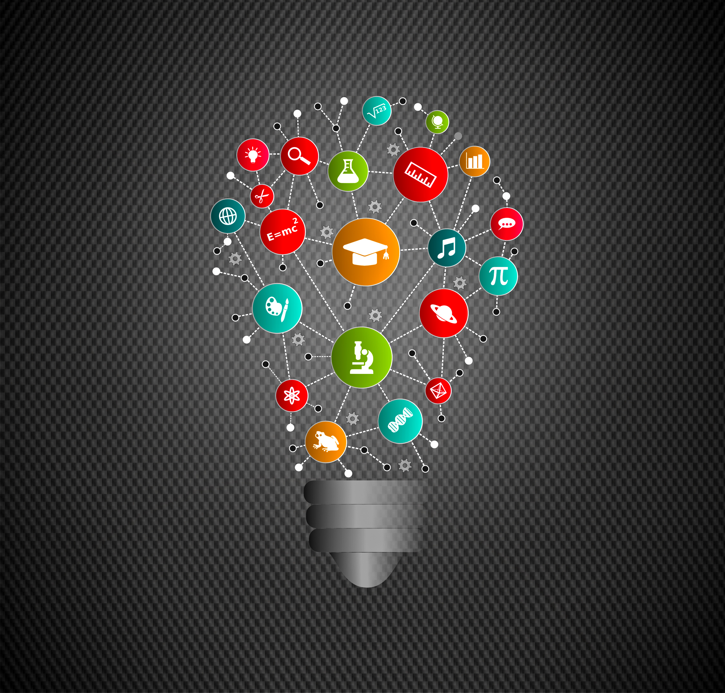 Virtual lightbulb with education and learning icons photo