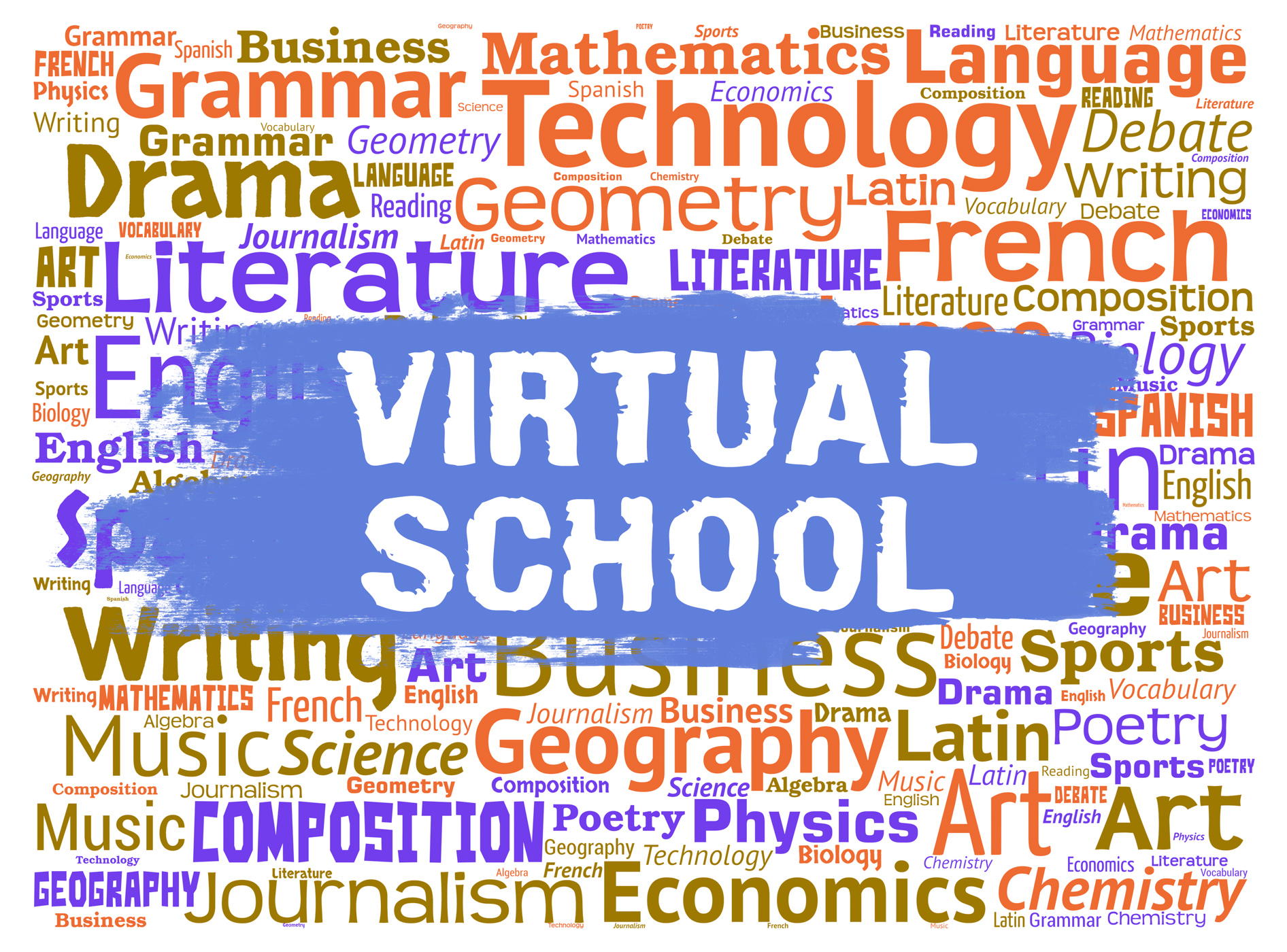Virtual school represents web site learning and education photo