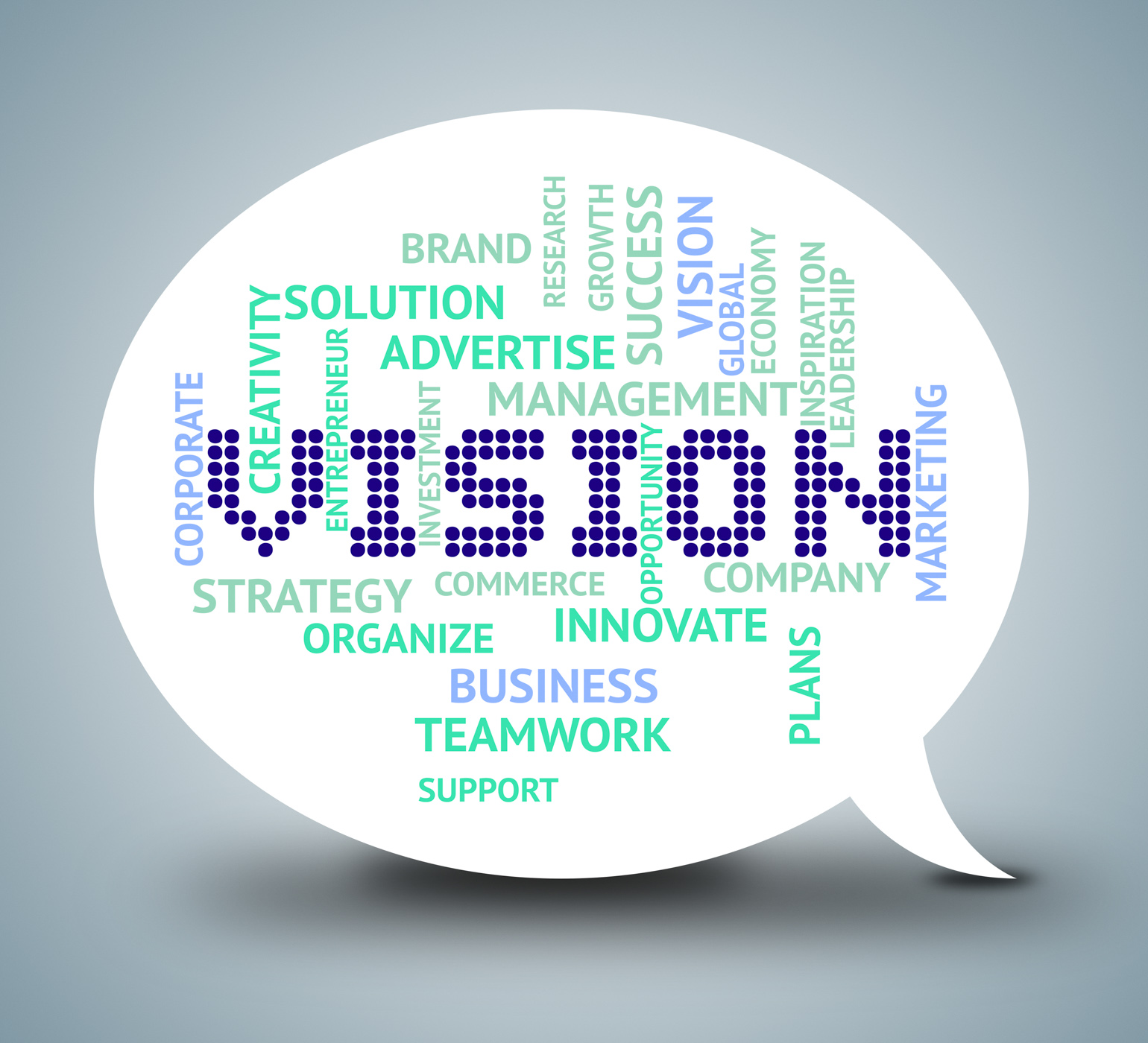 Vision Bubble Shows Plan Speak And Aspire, Aim, Missions, Vision, Target, HQ Photo
