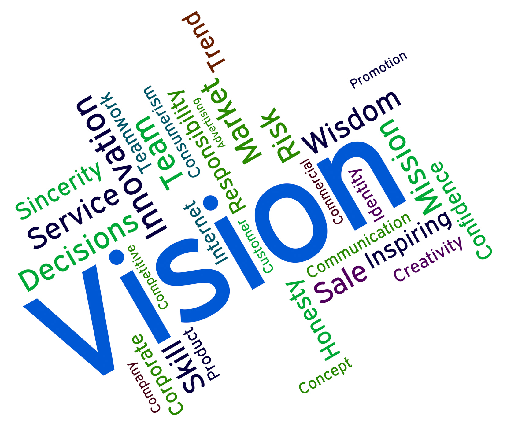 Vision word represents plans future and aim photo