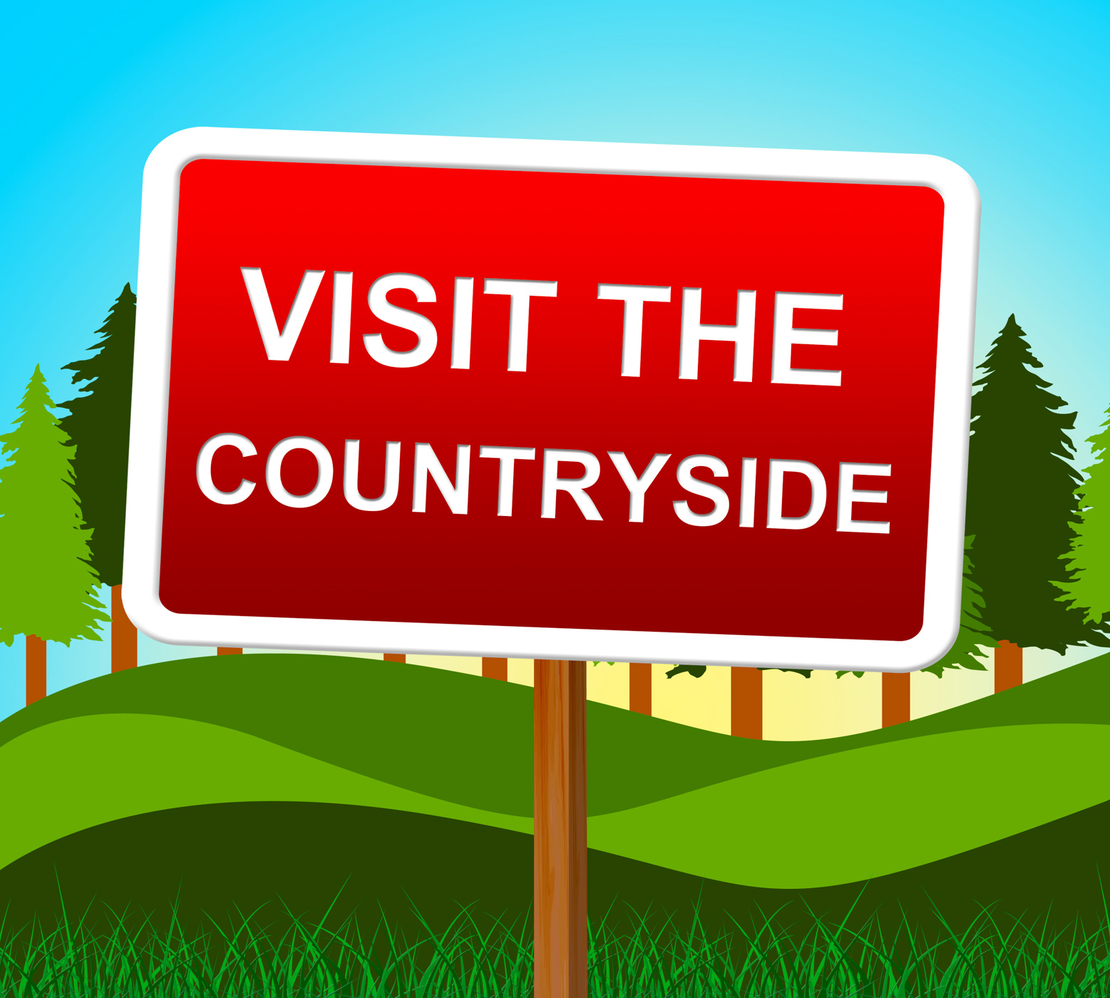 Visit the countryside means message nature and signboard photo