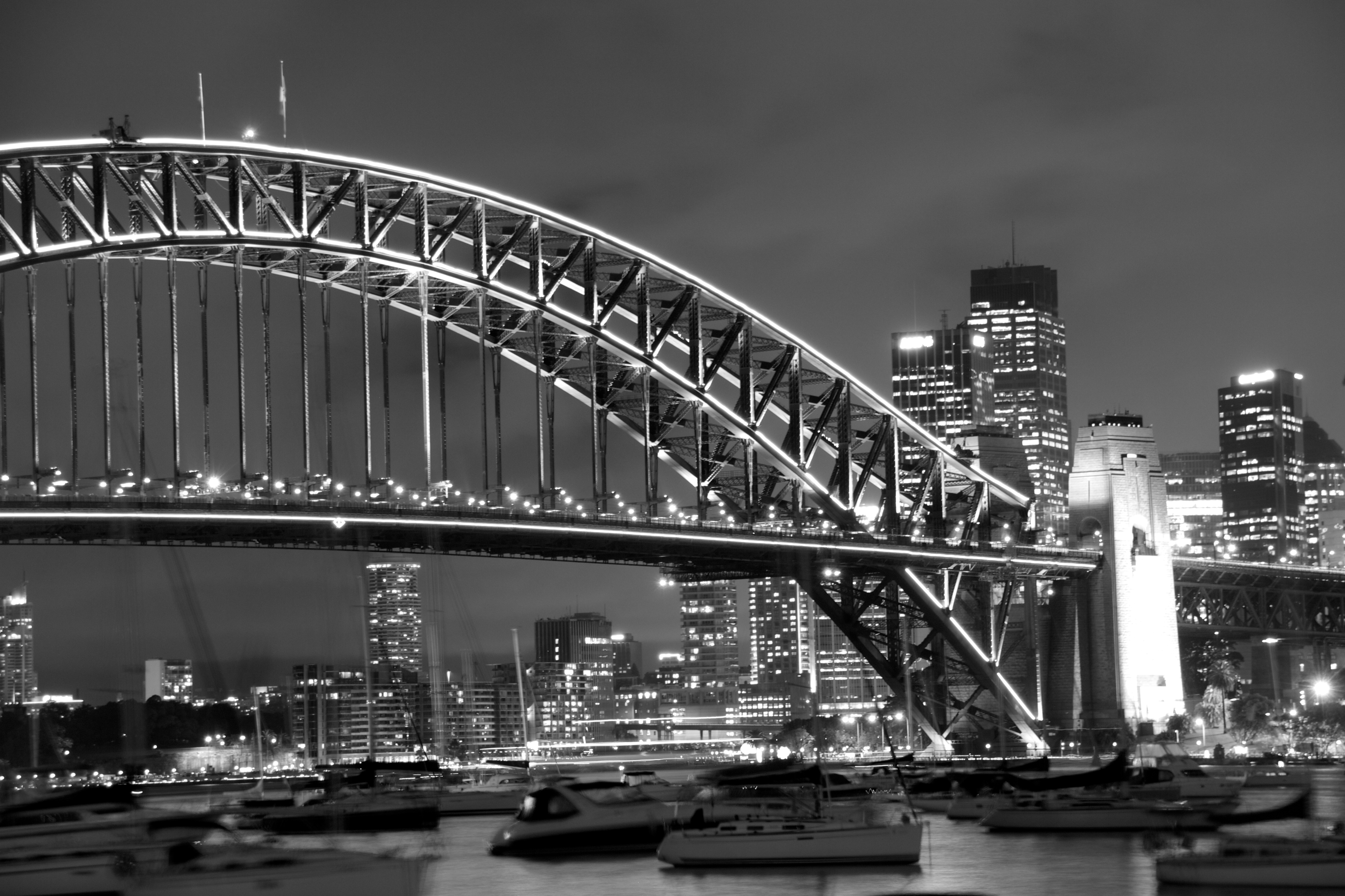 Vivid festival in black and white, Steel arch bridge, Skyline, Project52, Sydney, HQ Photo