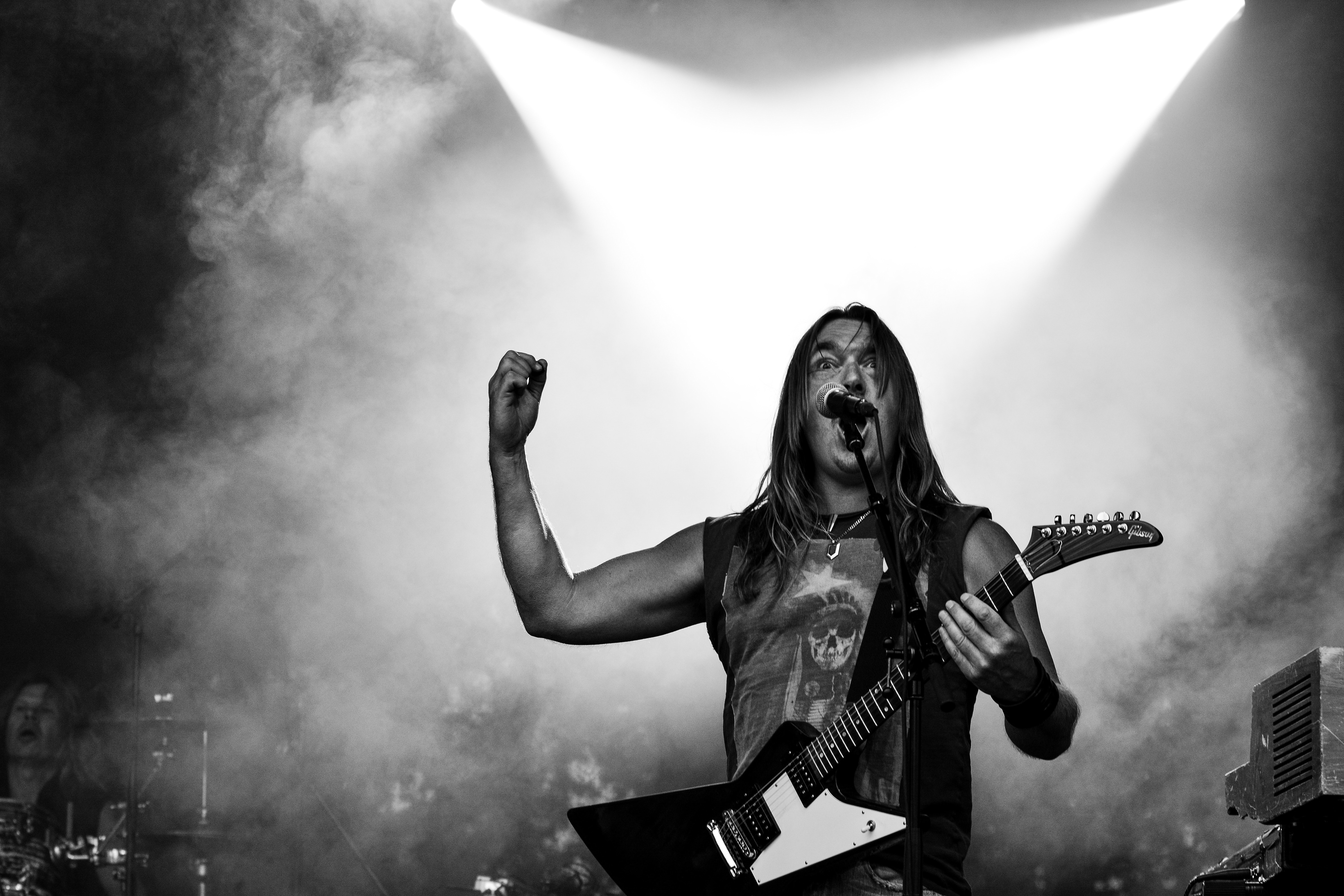 Vocalist Performing on Stage, Band, Black-and-white, Concert, Guitar, HQ Photo