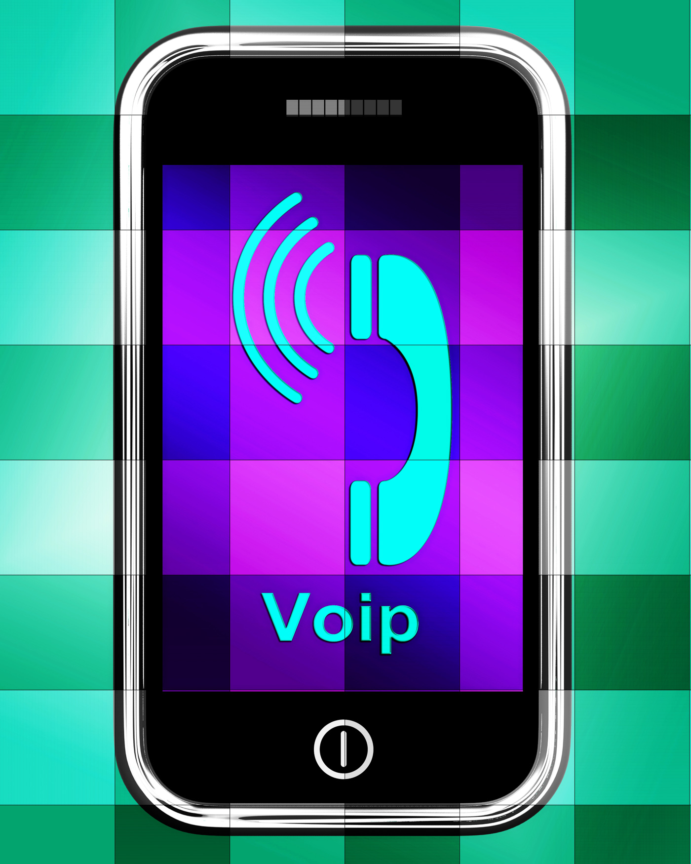 Voip on phone displays voice over internet protocol or ip telephony photo