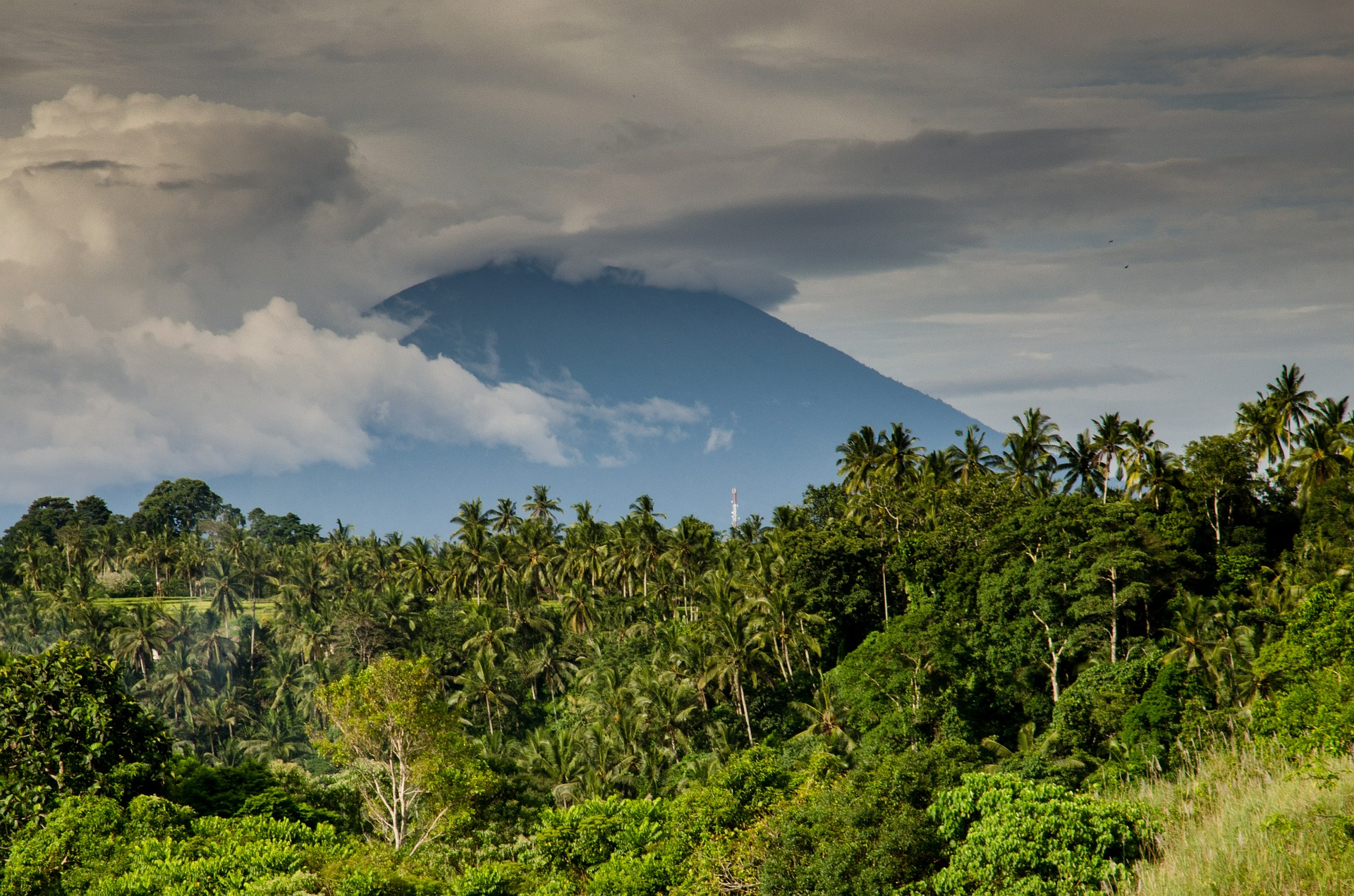 Volcano covered with Clouds, Cloudy, Forest, Jungle, Landscape, HQ Photo
