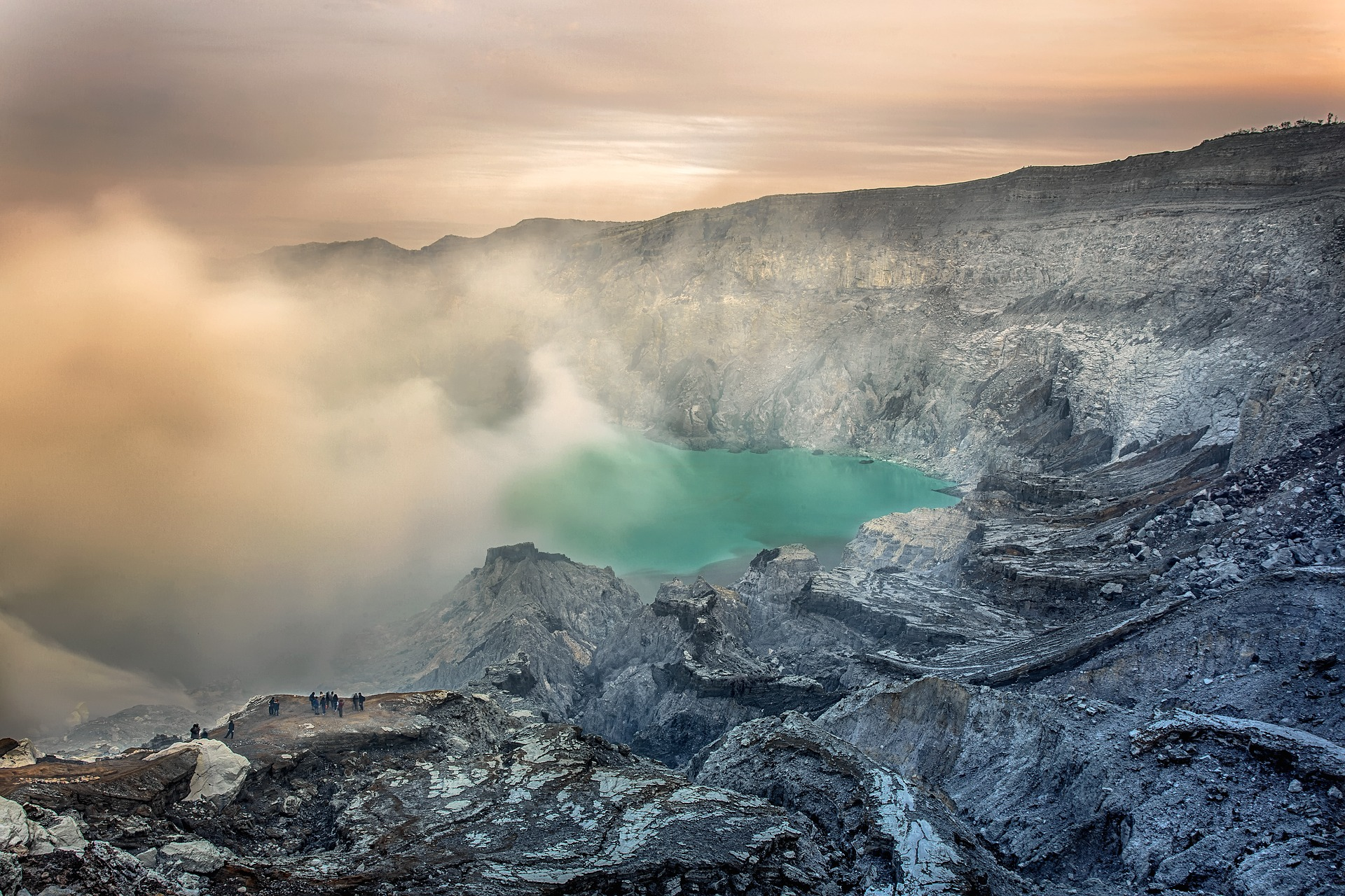 Volcano View, Activity, Human, Lake, Landscape, HQ Photo
