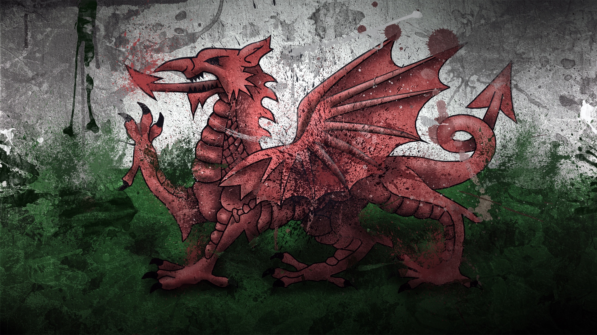 Download wallpaper 1920x1080 wales, dragon, symbol, flag, paints ...