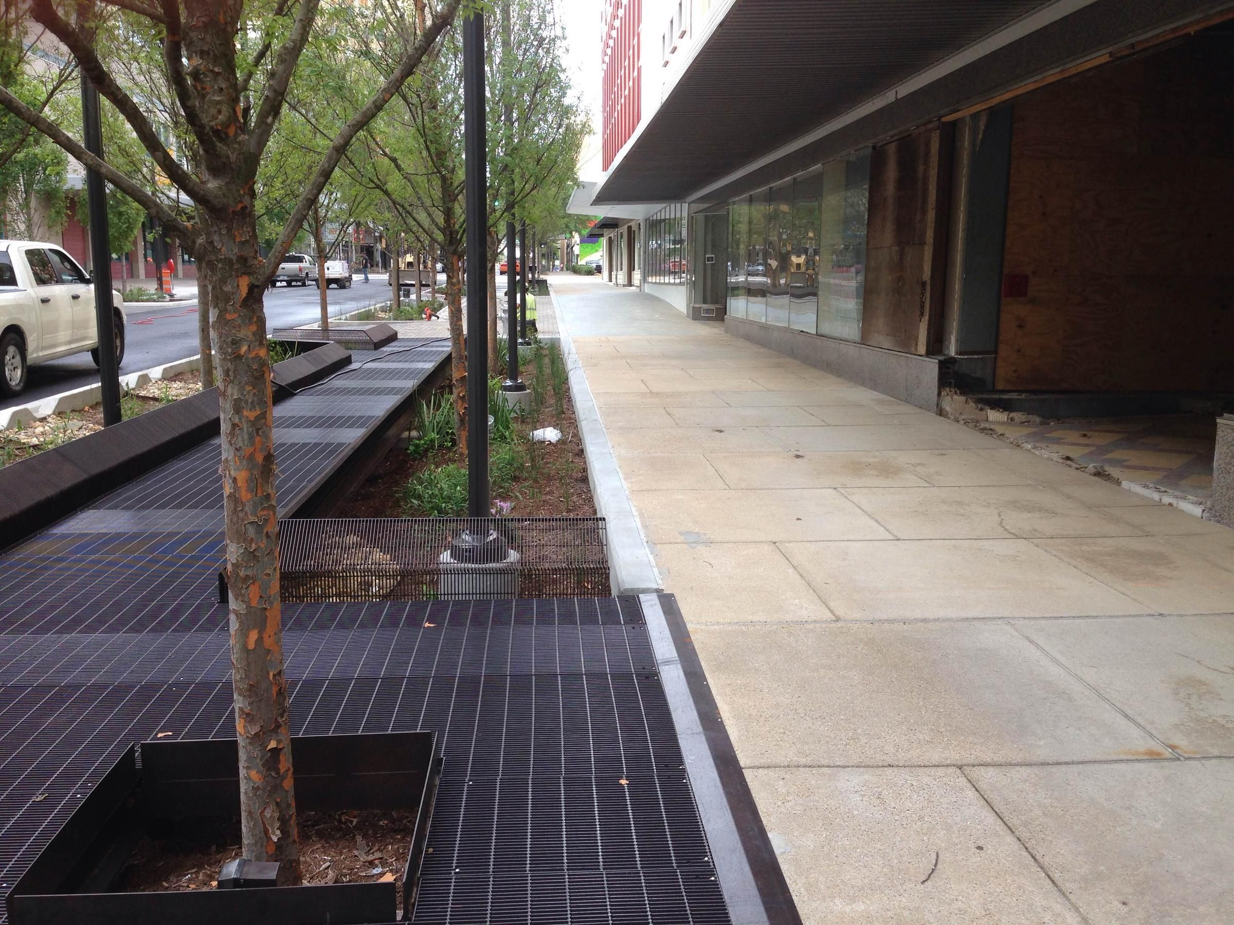 A new plantings of trees and grasses in bioswales border the walkway ...