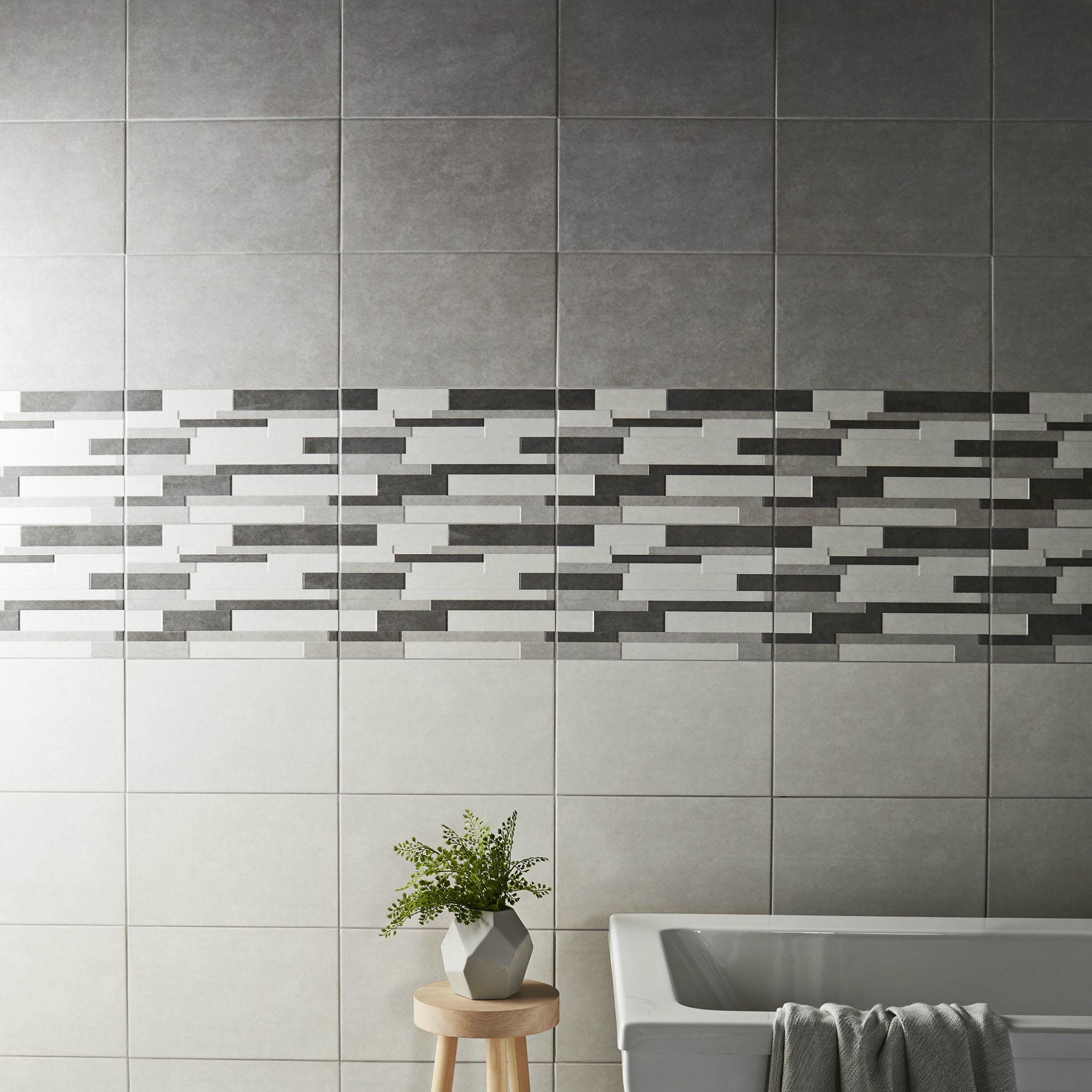 Cimenti Grey Matt Ceramic Wall Tile, Pack of 10, (L)400mm (W)250mm ...