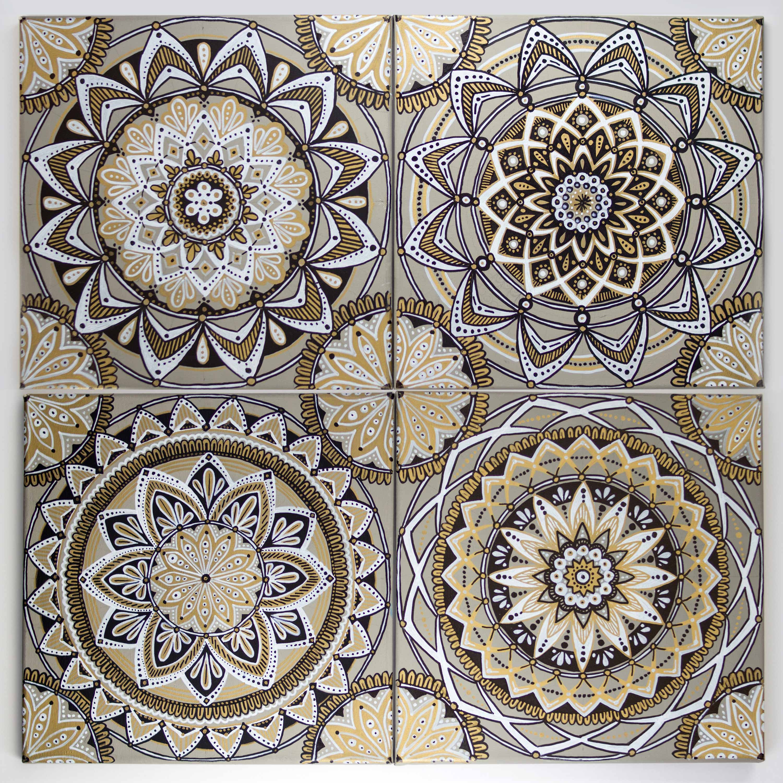 Mandala Canvas Wall Tiles - Kristy Lingebach - Coloring Cards