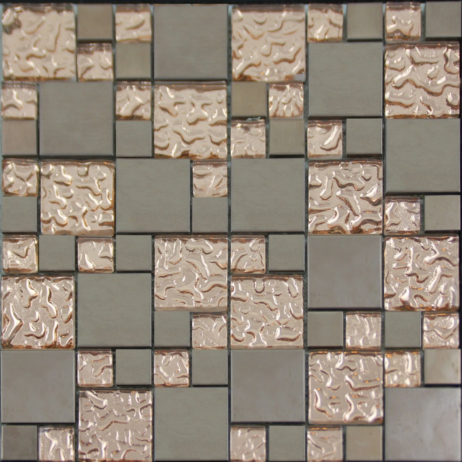 Copper Glass and Porcelain Square Mosaic Tile Designs Plated Ceramic ...