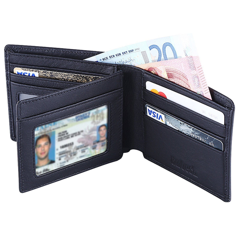 Hoobest RFID Blocking Genuine Leather Wallet for Men -Travel Credit ...