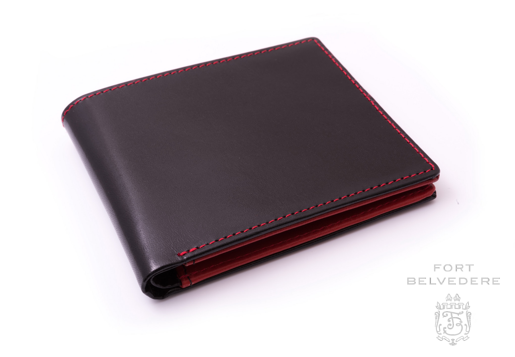 Men's Leather Wallet in Black & Red Boxcalf for 10 Credit Card by ...
