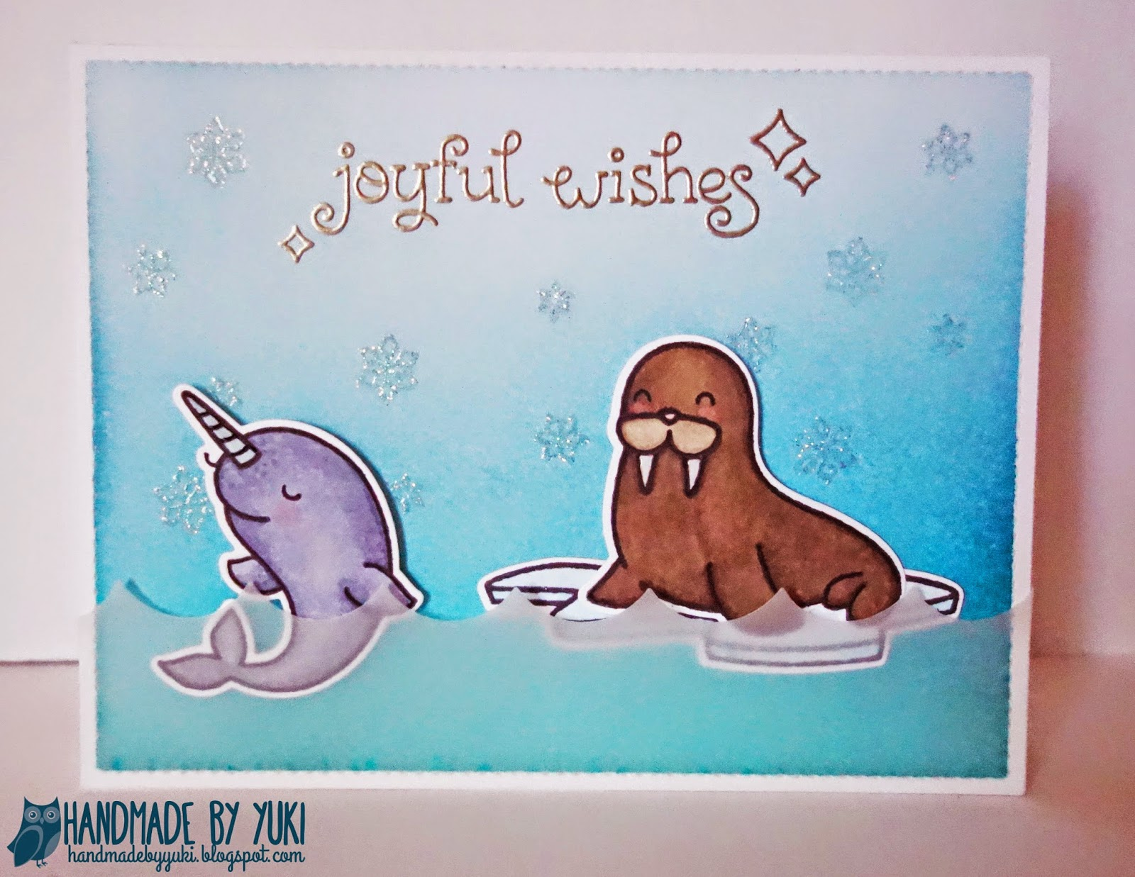 Handmade by Yuki: Walrus & Narwhal Winter Card featuring Lawn Fawn