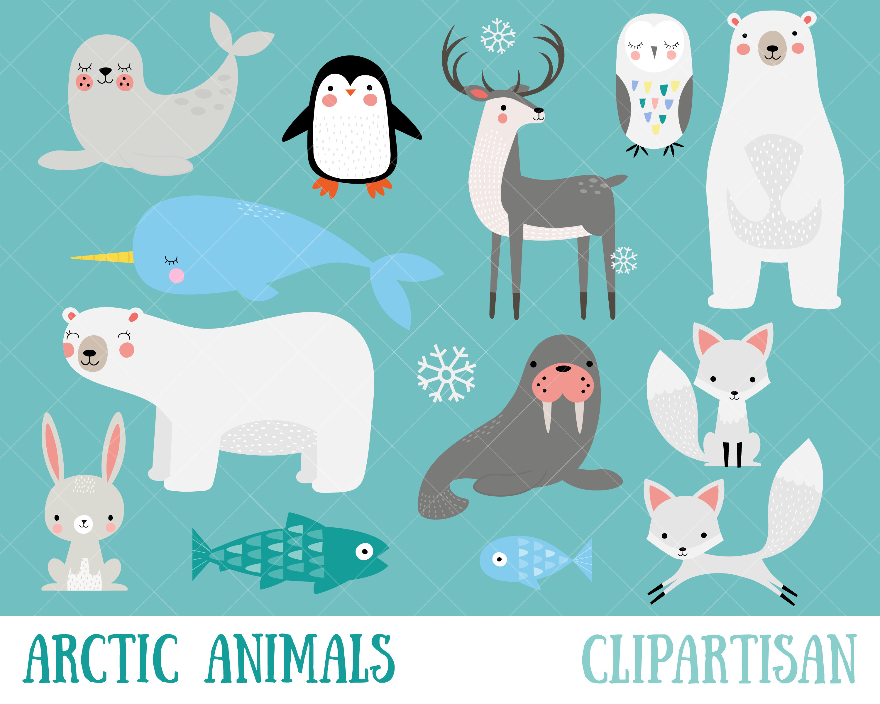 Arctic Animals Clipart | Winter Animals Clip Art | Polar Bear ...