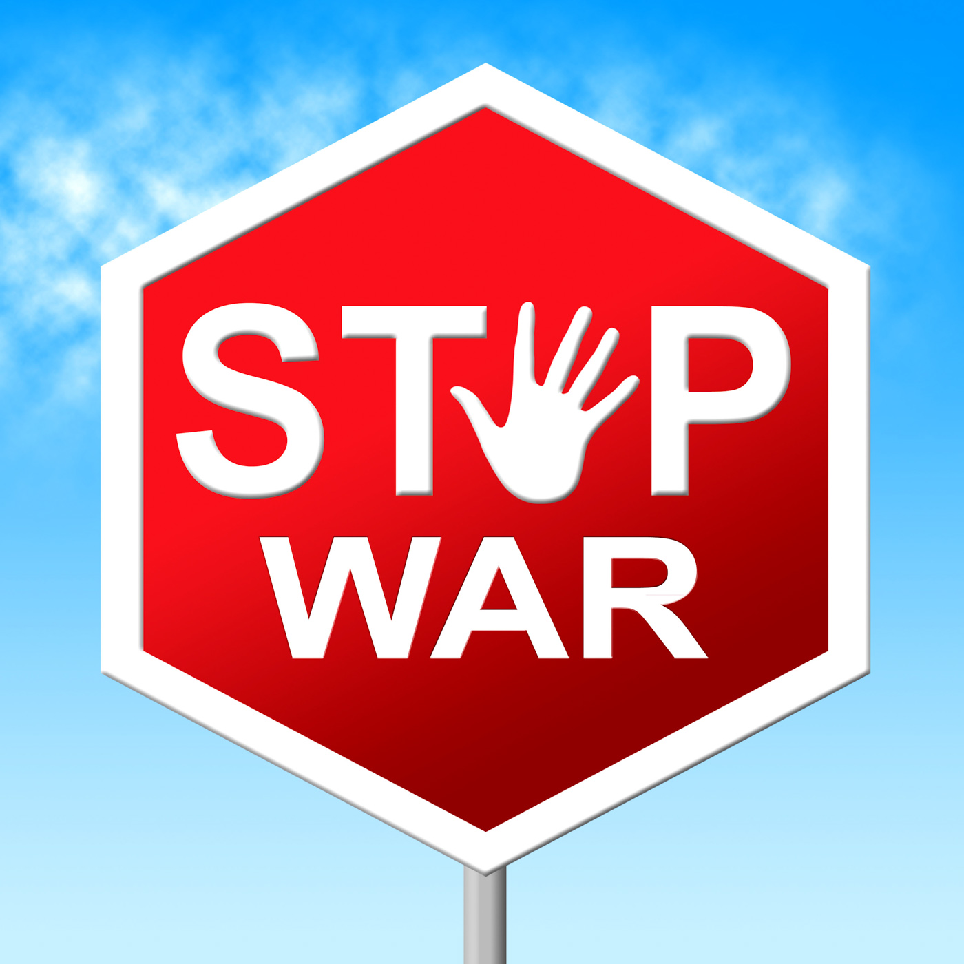 War stop shows warning sign and battles photo