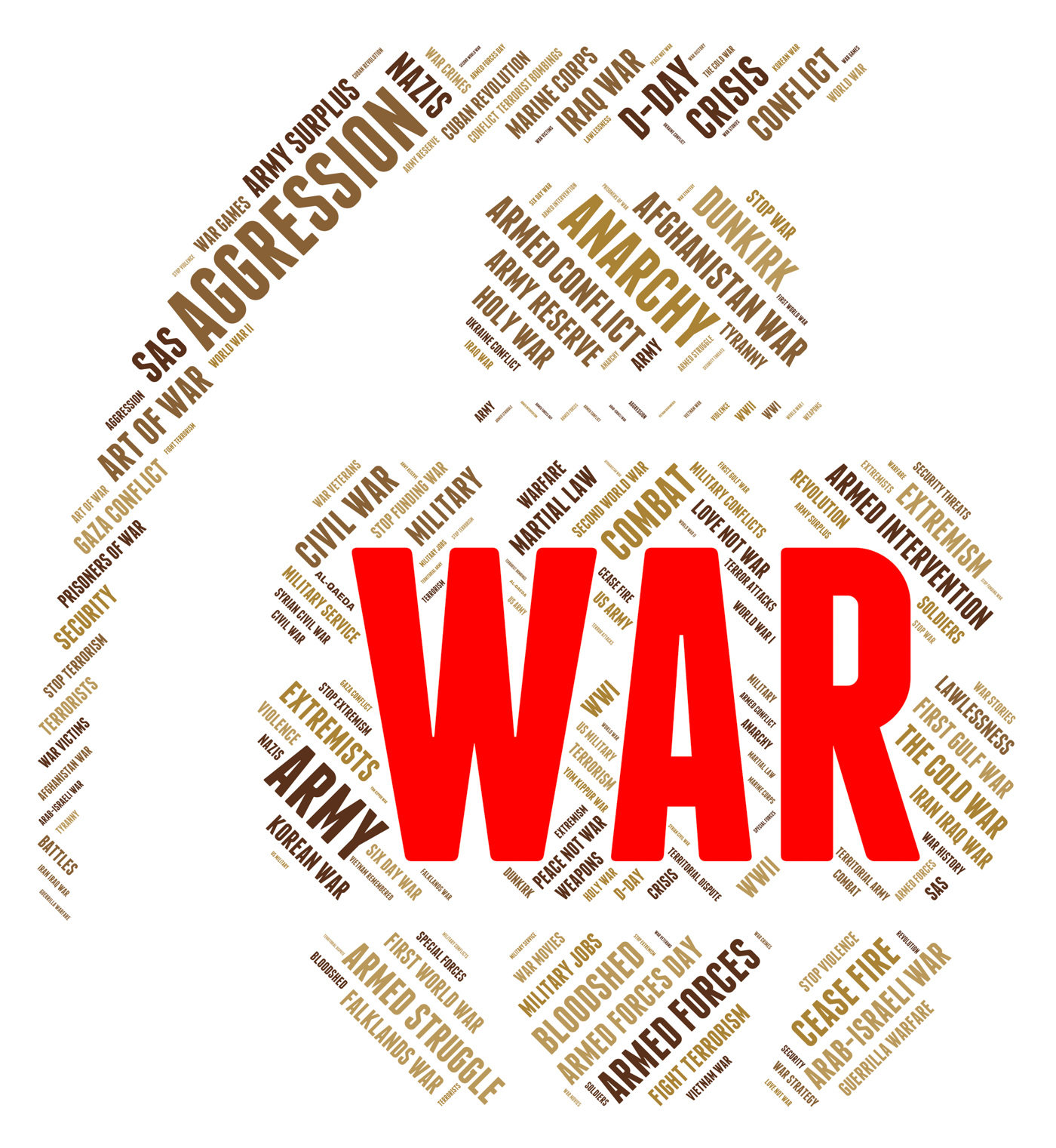 War word represents military action and battle photo