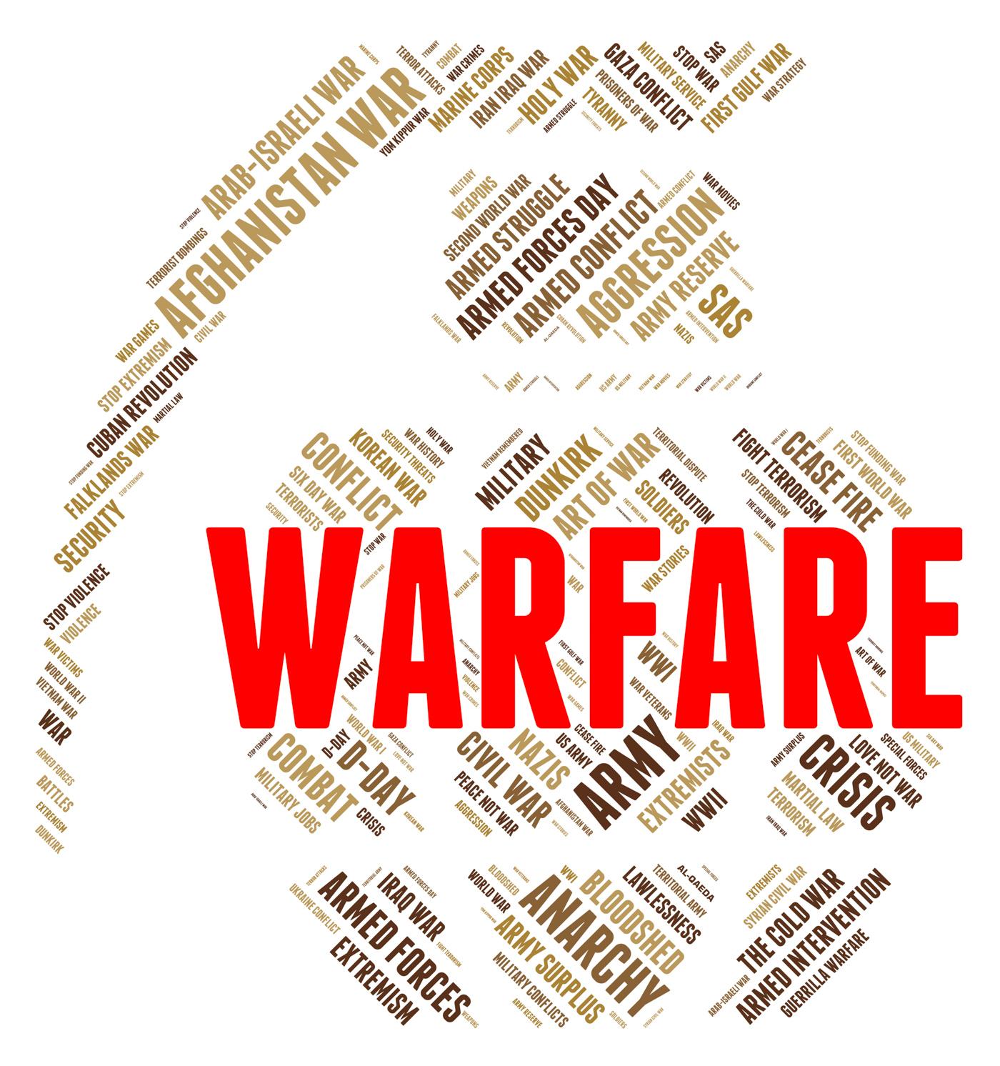 Warfare word shows fighting battle and skirmish photo