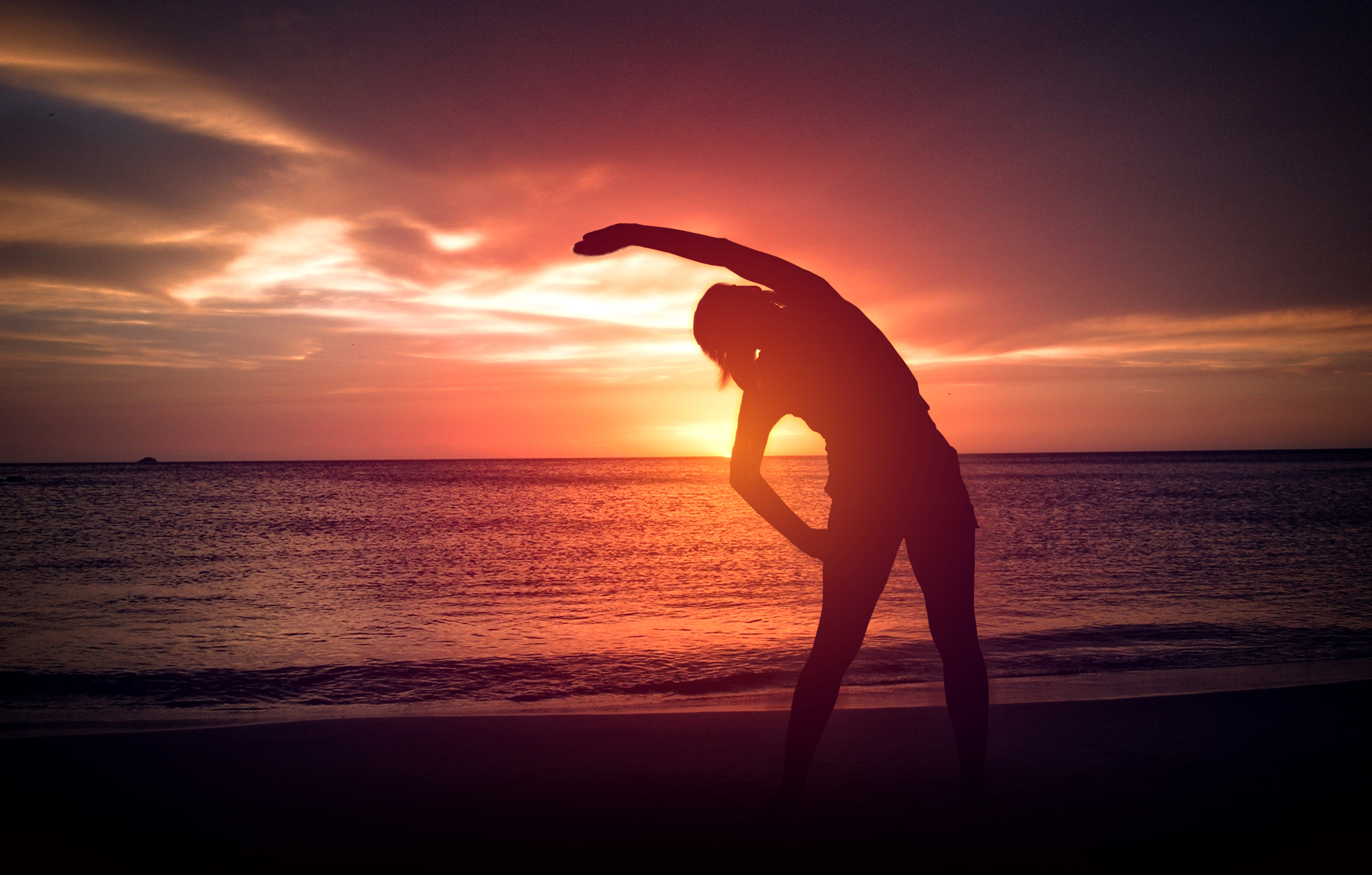 Warm-Up exercise on the Beach at Sunset, Sand, Runner, Sea, Shape, HQ Photo