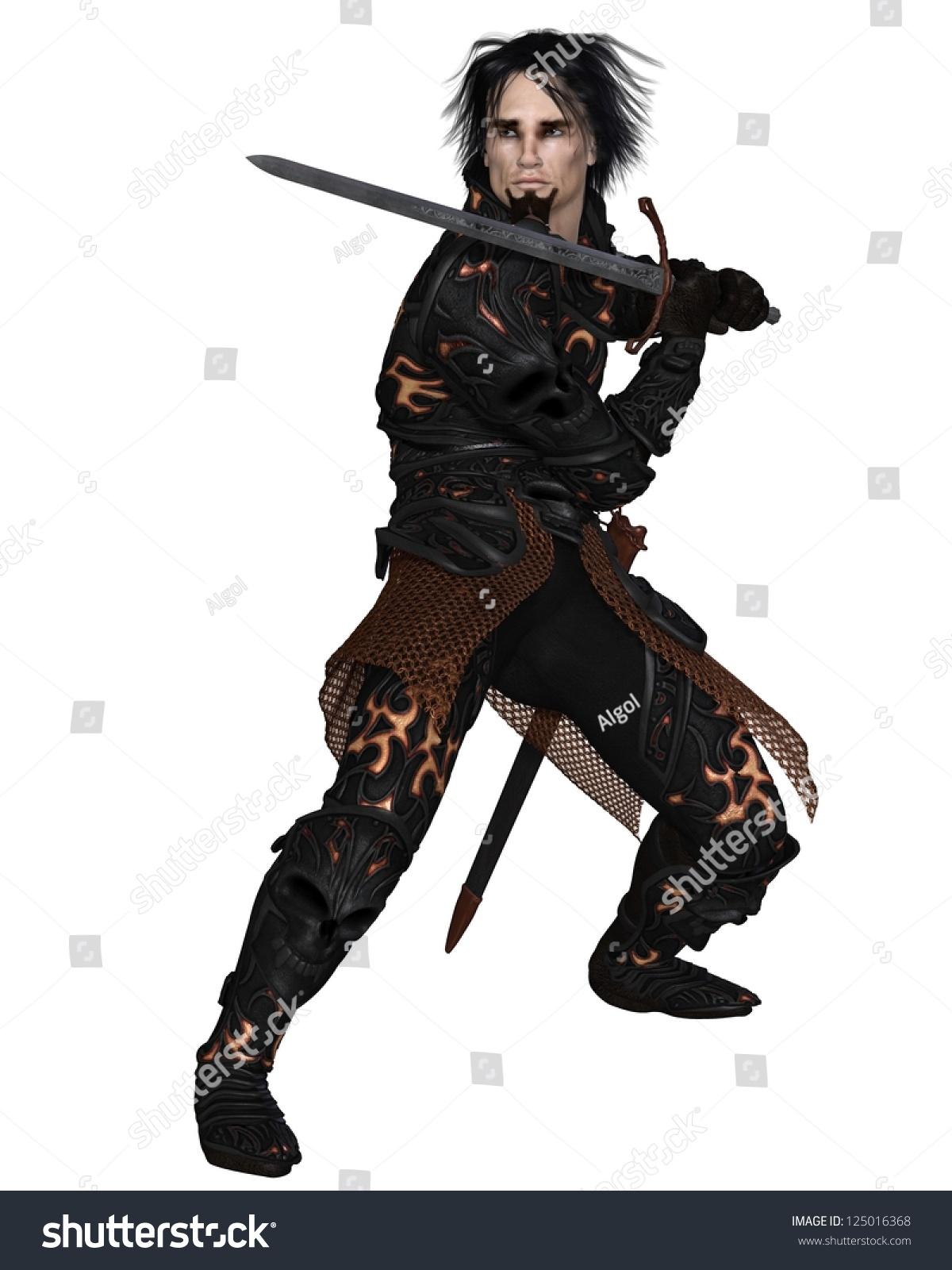 Dark Fantasy Warrior Knight Wearing Black Stock Illustration ...