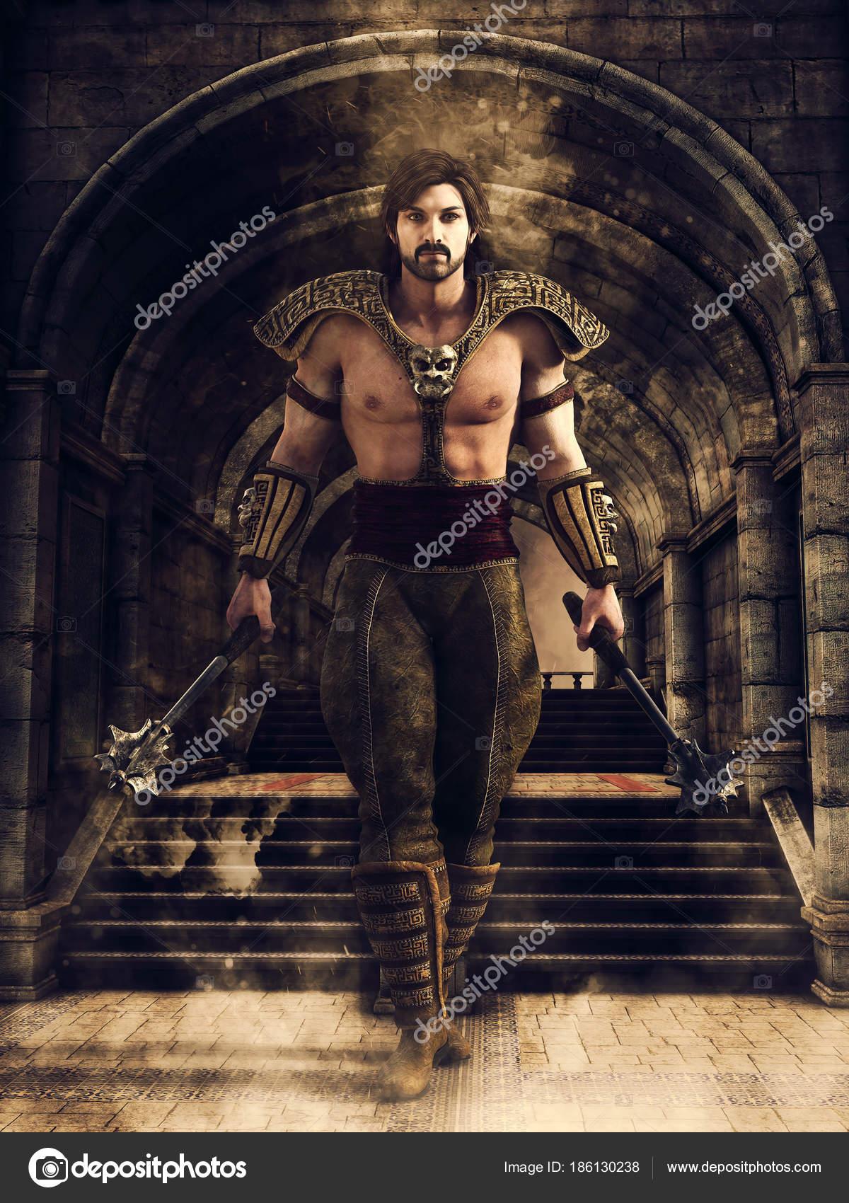 Fantasy Male Warrior Walking Dark Corridor Medieval Castle Render ...