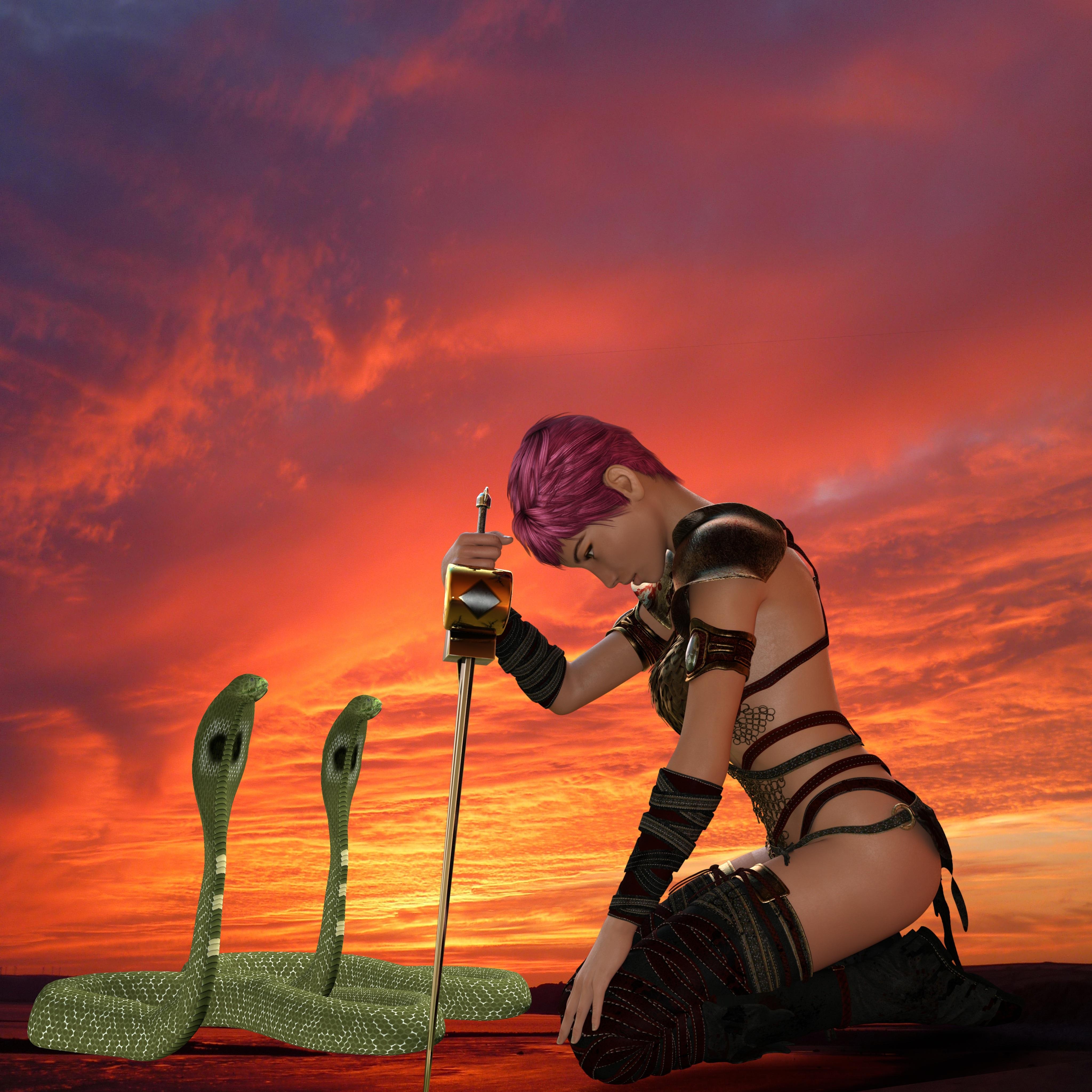 Warrior Fantasy Render, Pride, Warrior, Sword, Snakes, HQ Photo