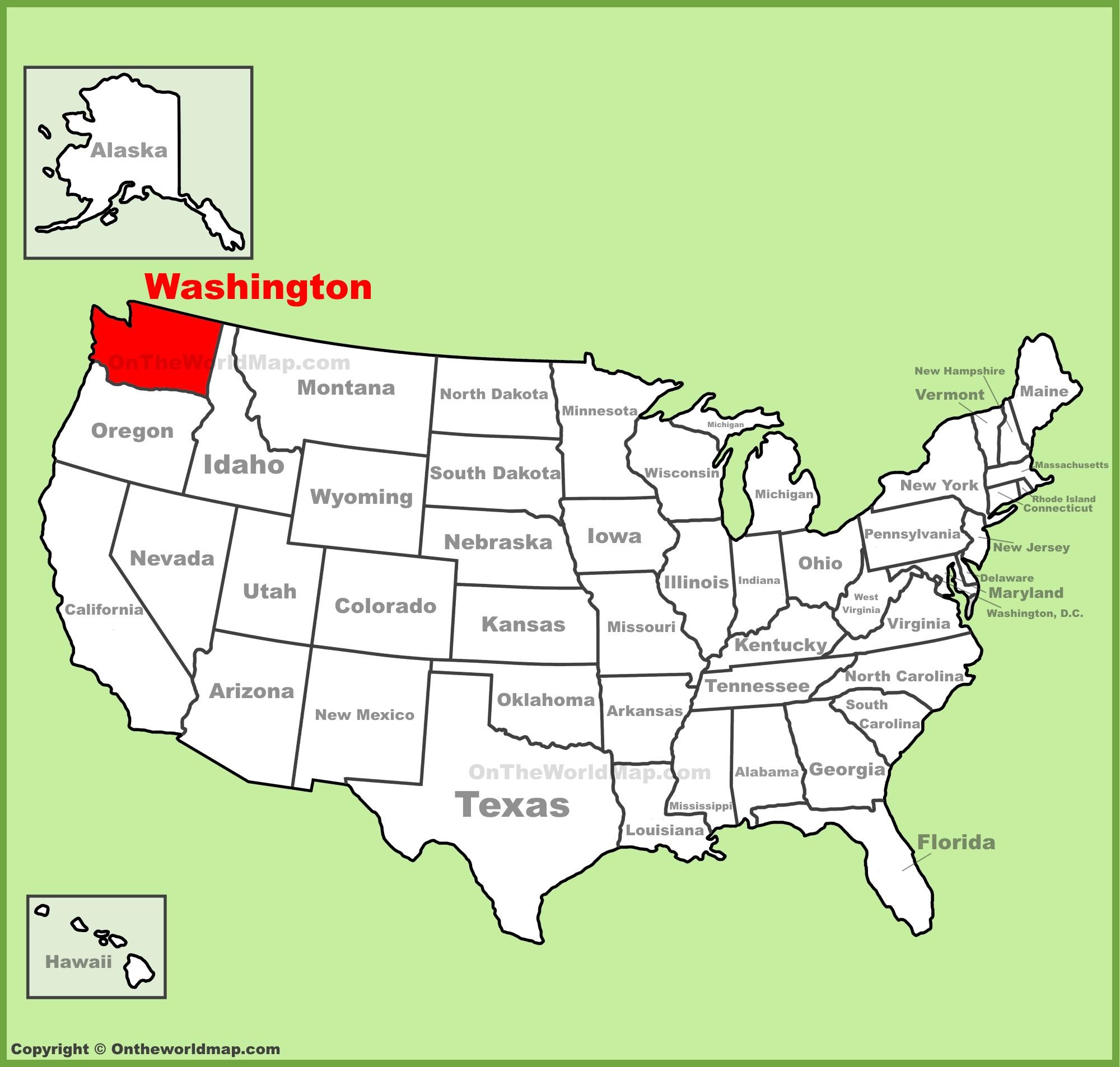 Washington (state) location on the U.S. Map