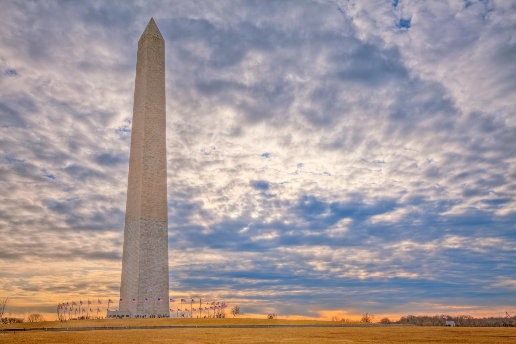 Washington Monument - HDR, American, Patriotic, Red, Range, HQ Photo