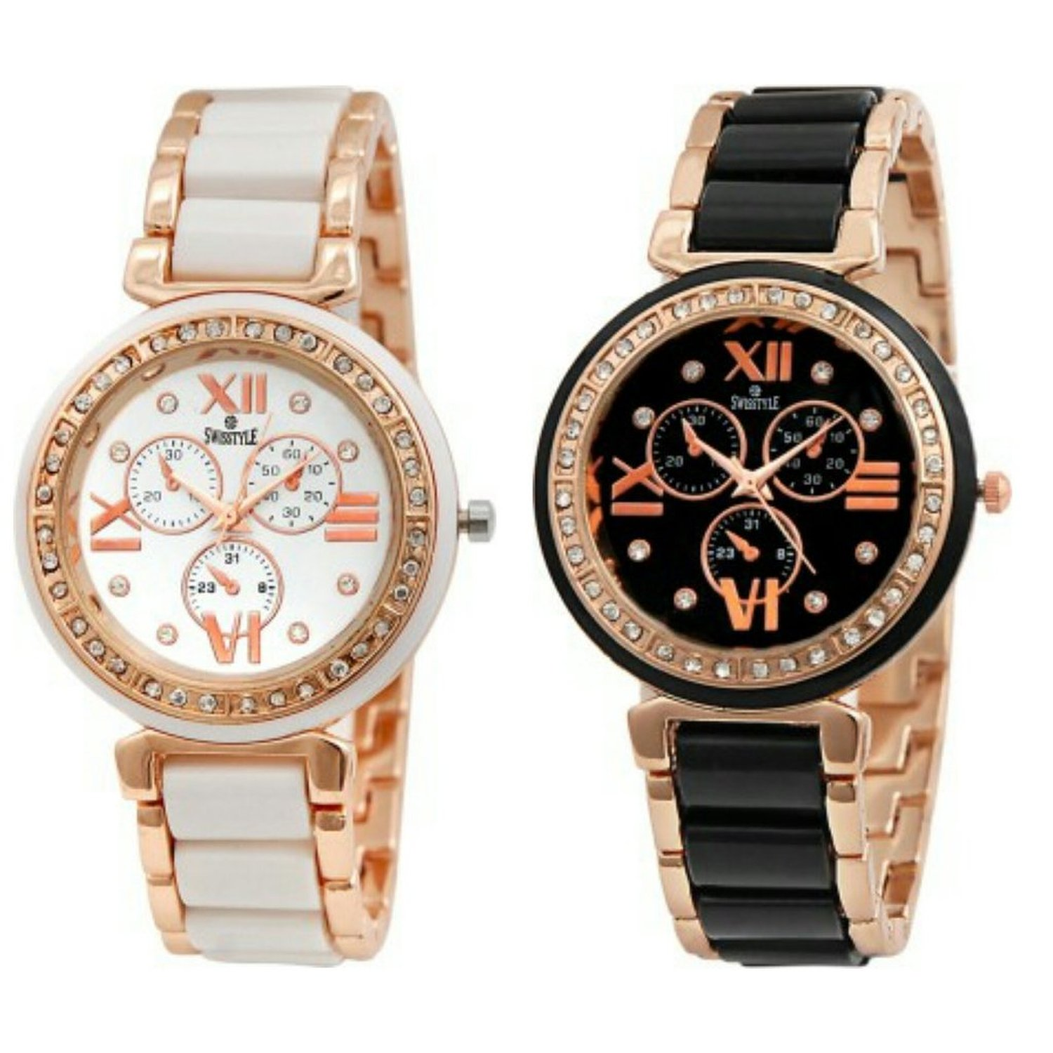 Buy Swisstyle Analogue White Dial & Black Dial Womens Watches (Ss ...