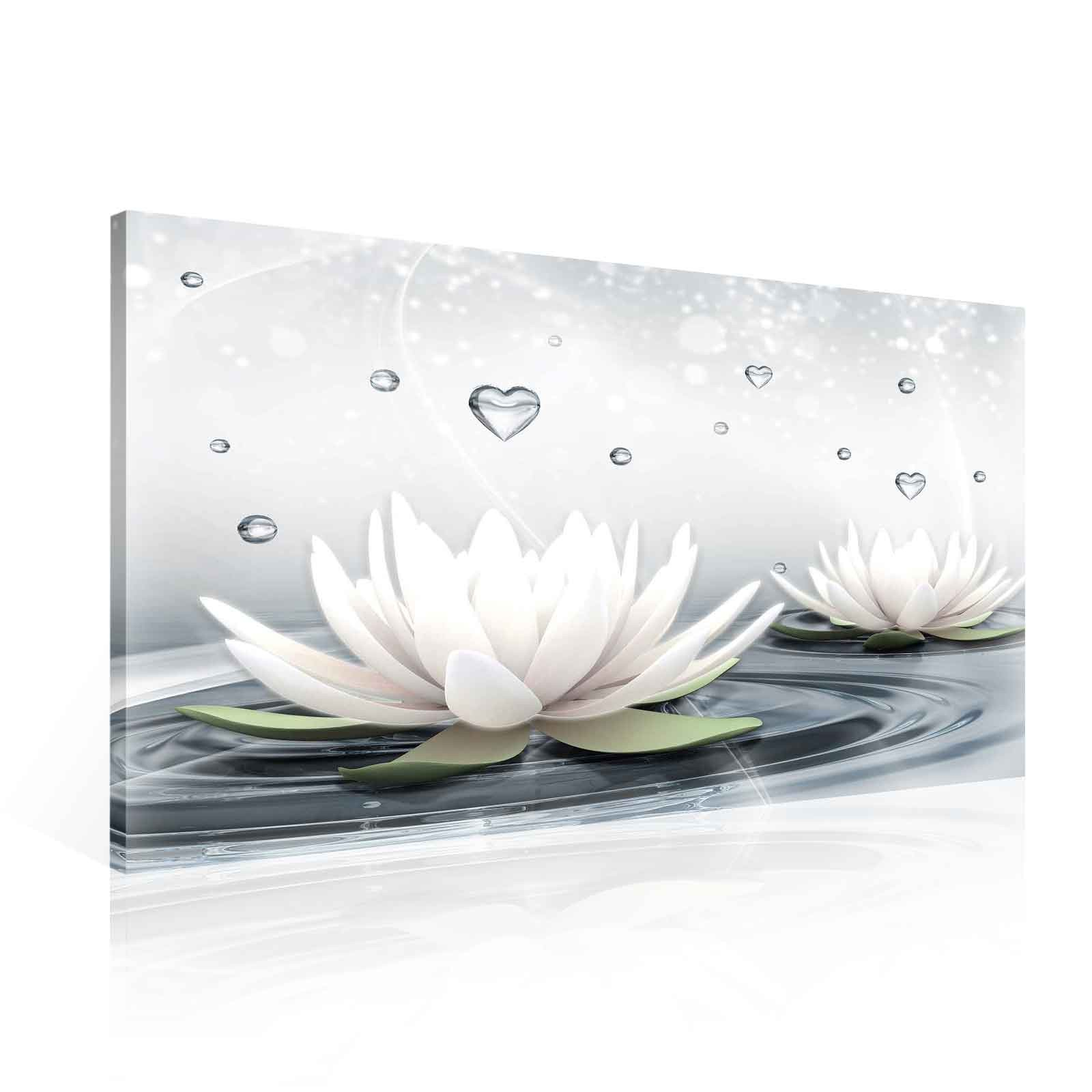 Flowers Lotus Water Drops Hearts White Canvas Print (PP2523O1 ...
